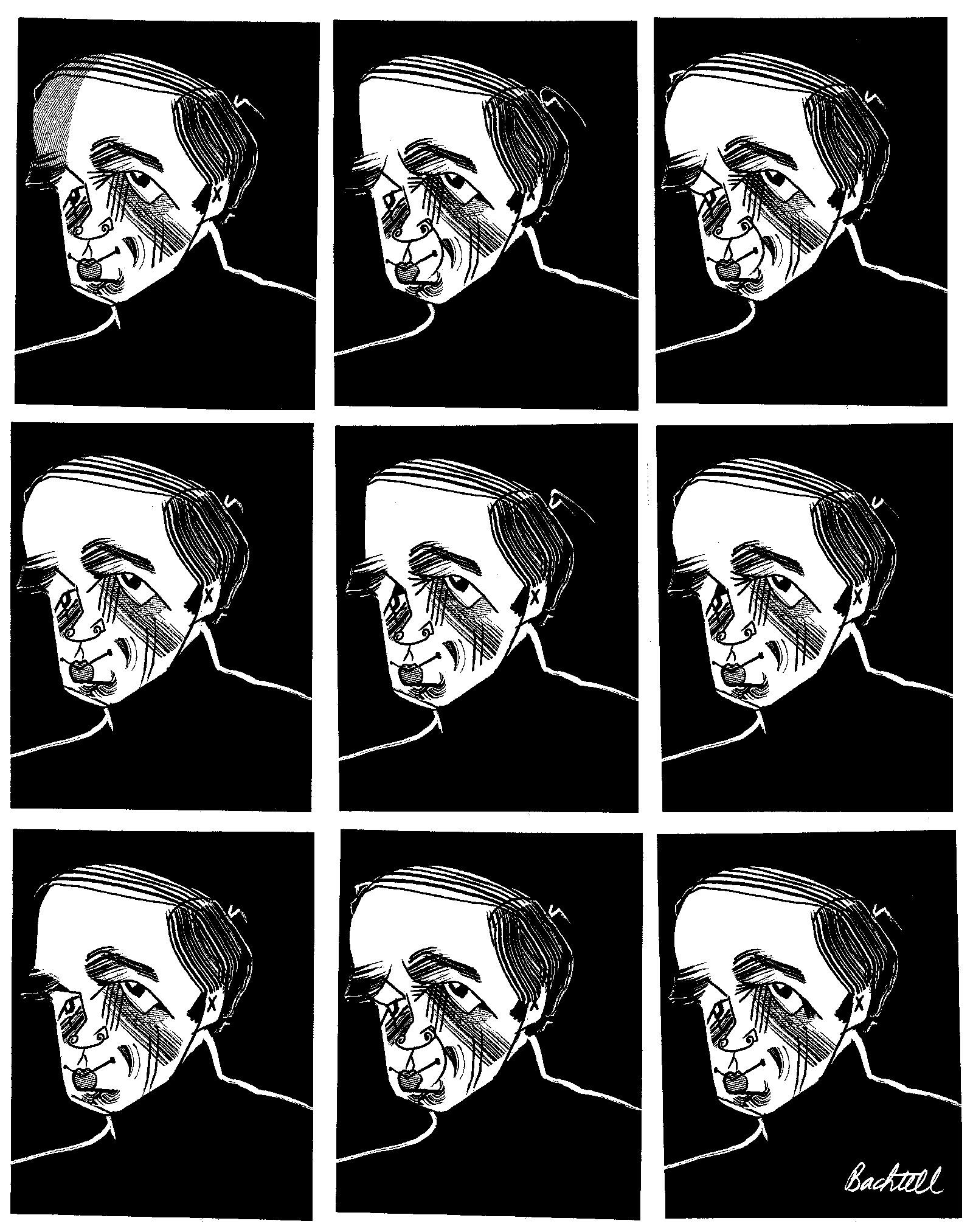 Pierre Boulez; illustration by Tom Bachtell