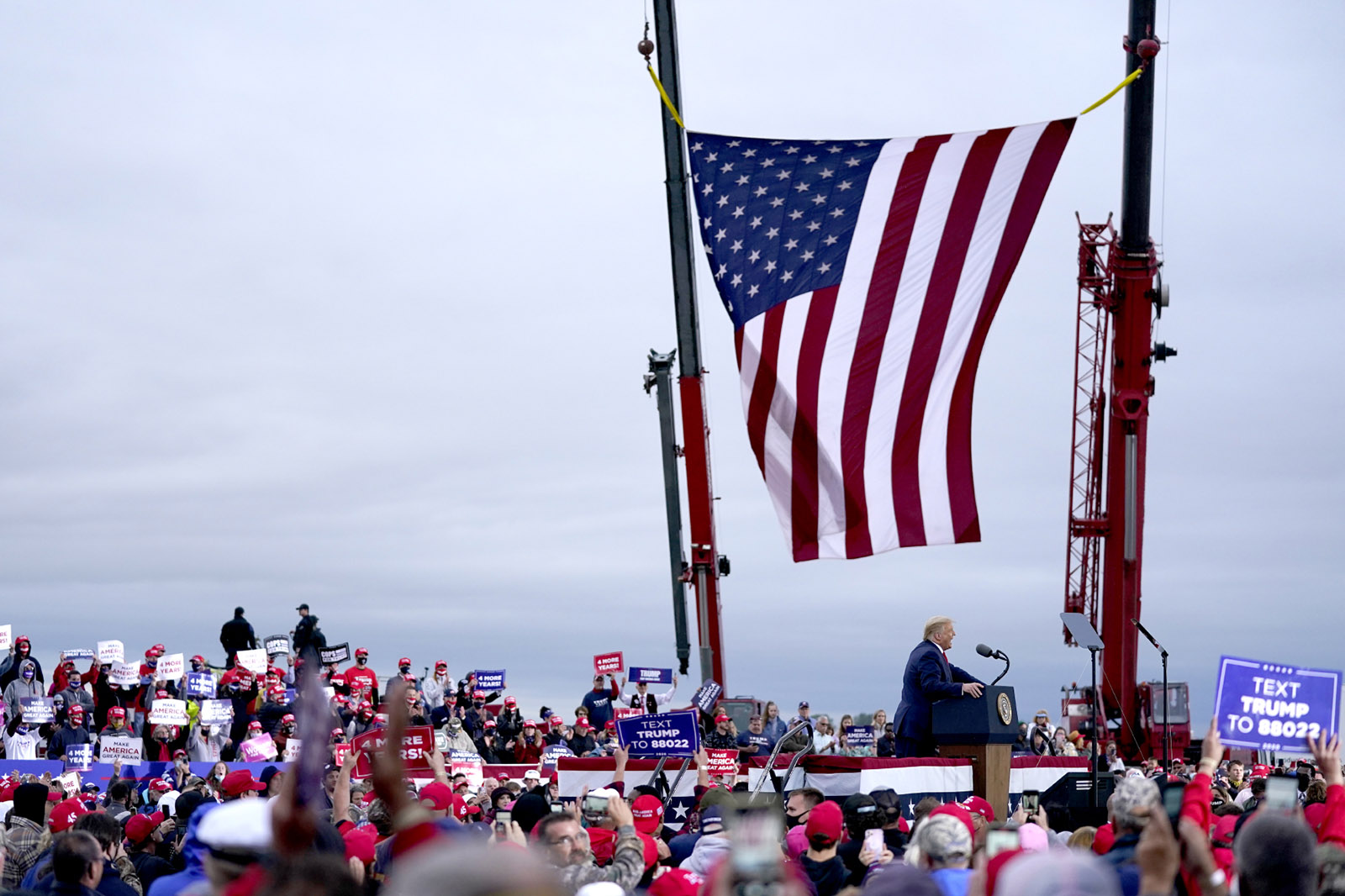Donald Trump speaking at a campaign rally, Freeland, Michigan
