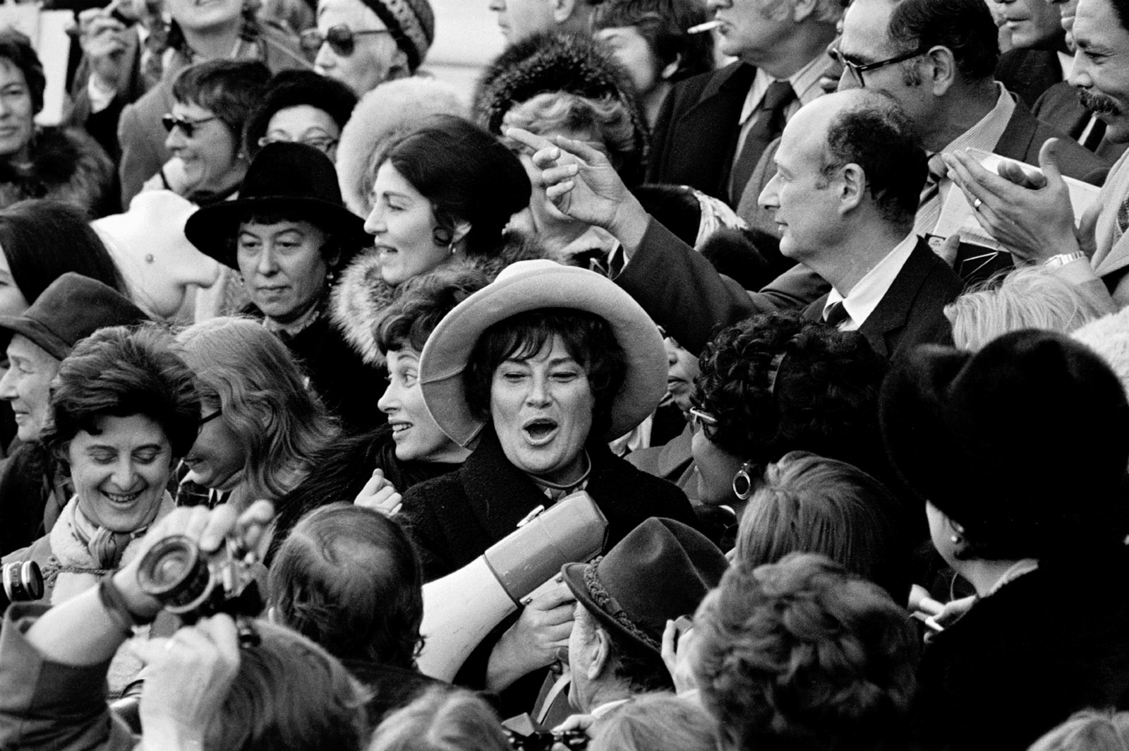 Bella Abzug protesting the Vietnam War on the steps of the Capitol after being sworn into Congress, 1971
