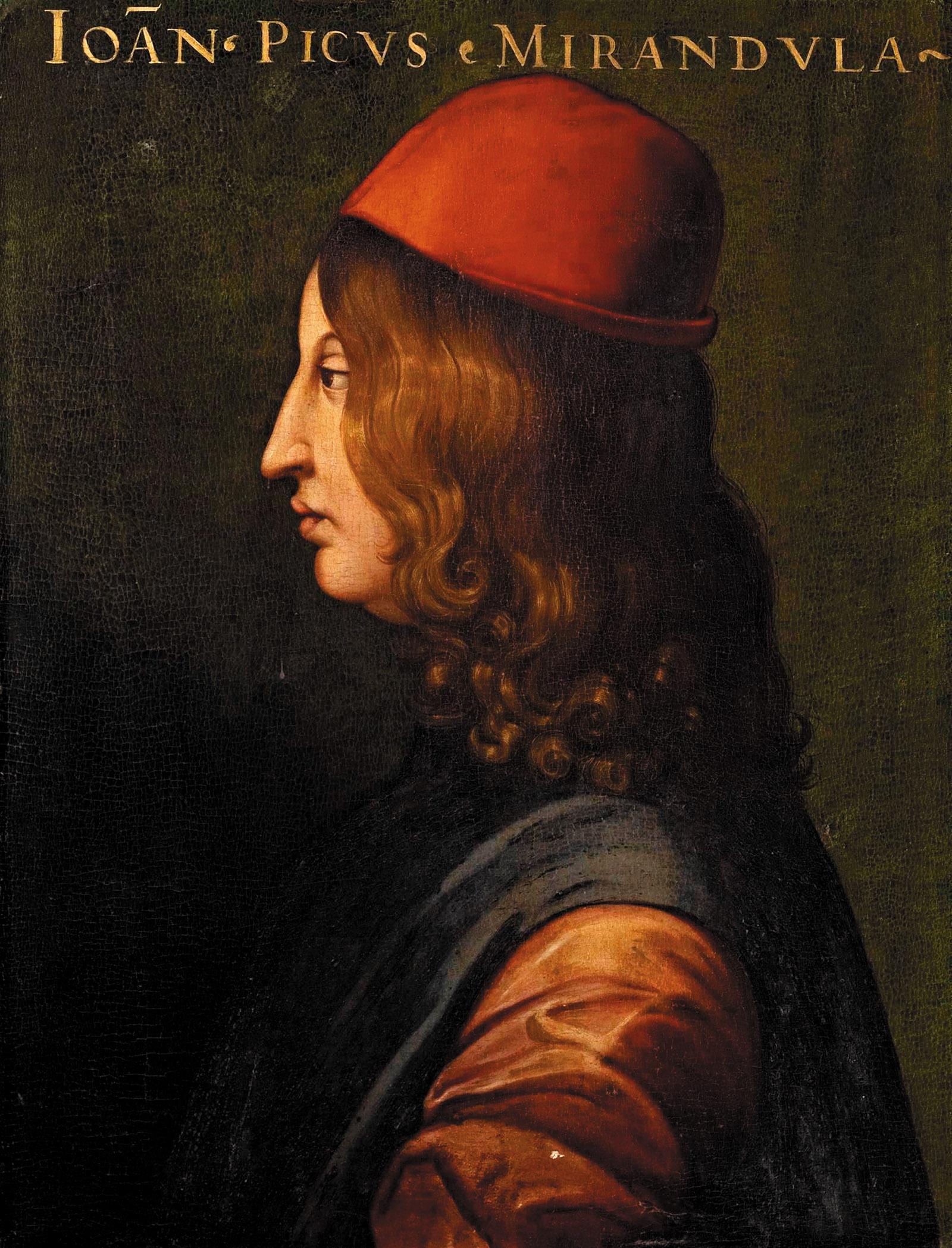 Giovanni Pico della Mirandola; portrait by Cristofano dell'Altissimo