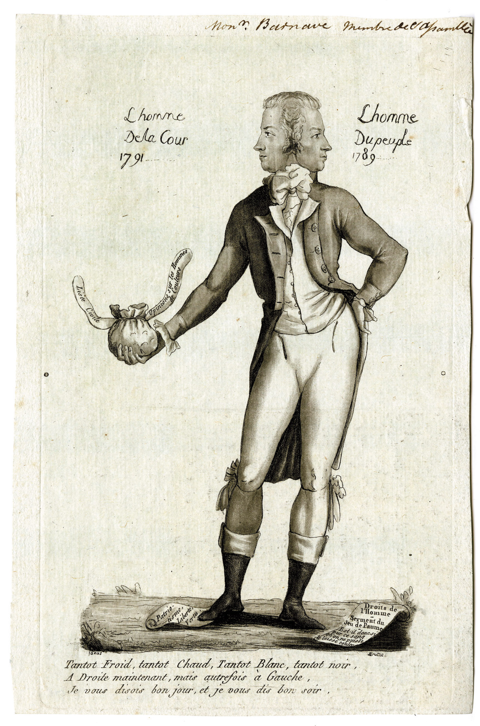 Antoine Barnave as both 'The man of the people 1789' and 'The man of the court 1791'