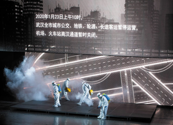 Actors from the People's Art Theater of Wuhan performing in a drama about medical staff fighting Covid-19 in Wuhan, September 2020