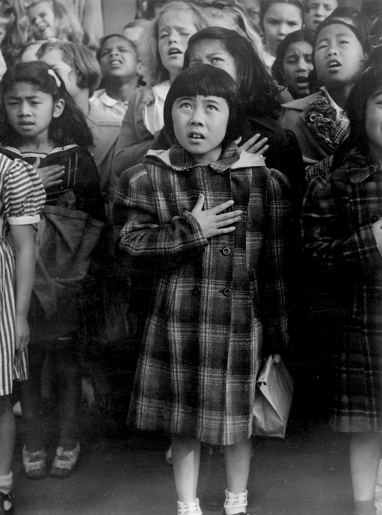 One Nation Indivisible, San Francisco, 1942; photograph by Dorothea Lange