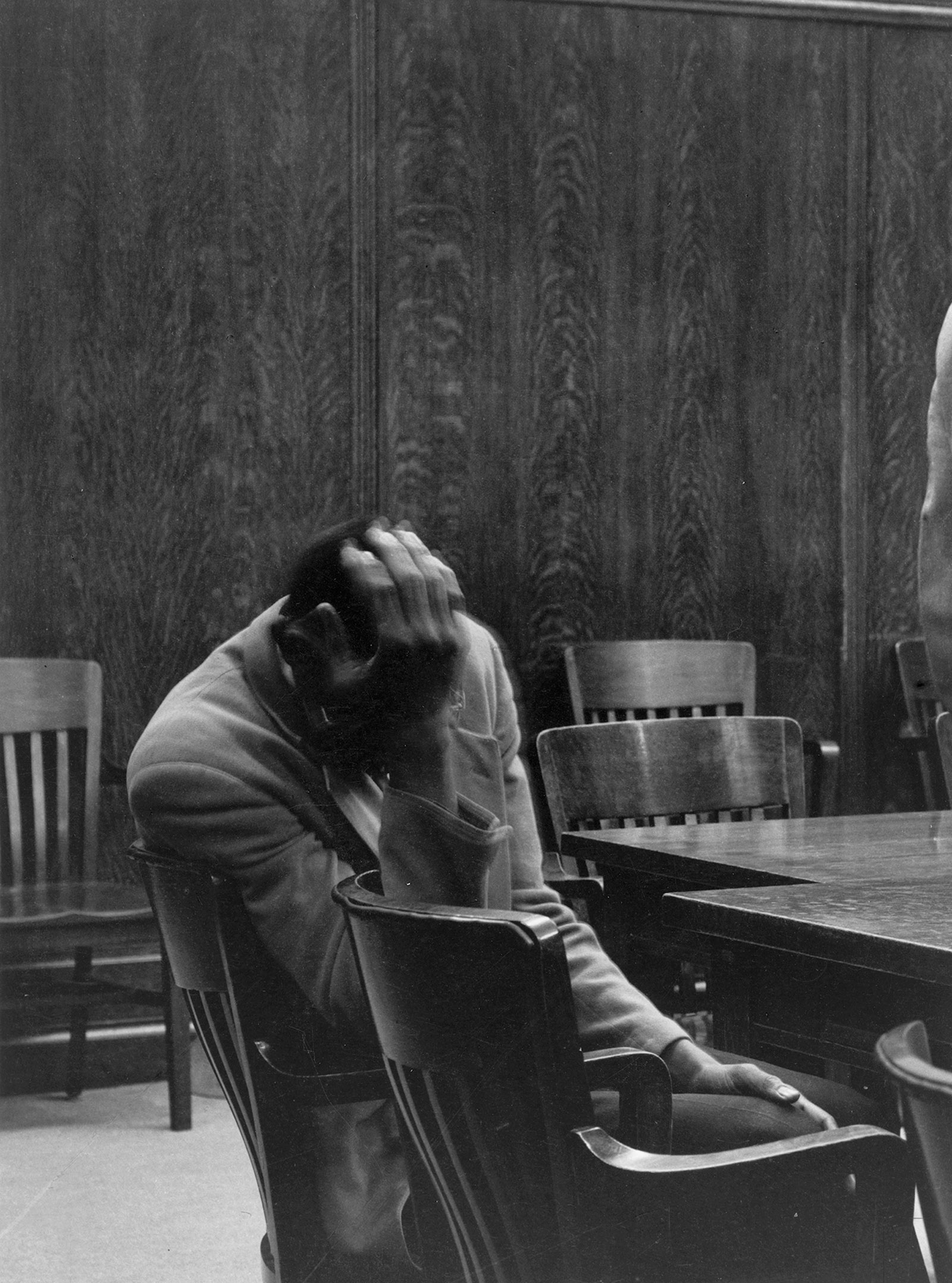 The Defendant, Alameda County Courthouse, California, 1957; photograph by Dorothea Lange