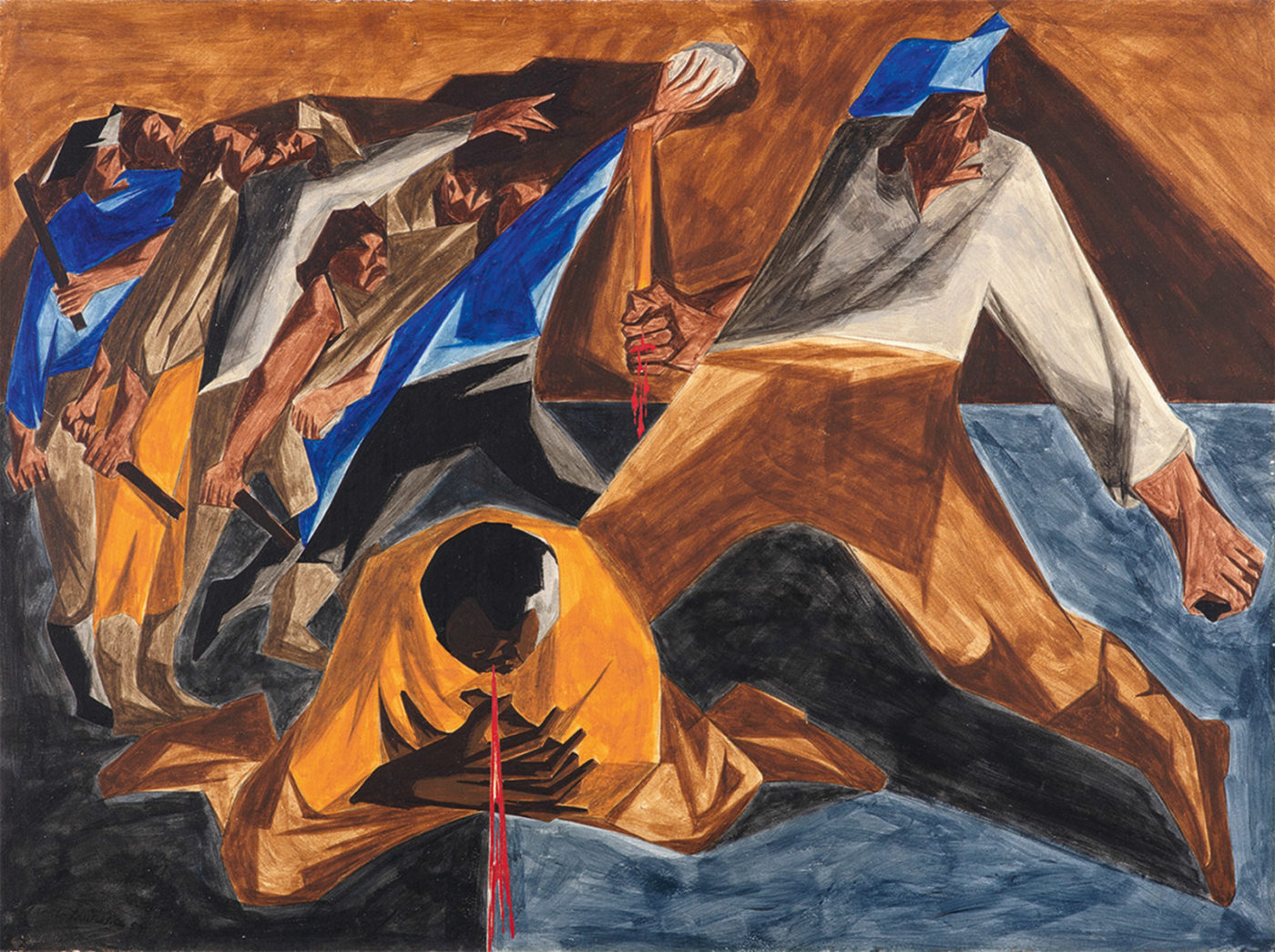 Jacob Lawrence: Massacre in Boston, 12 x 16 inches, 1954–1955; panel 2 from Struggle: From the History of the American People