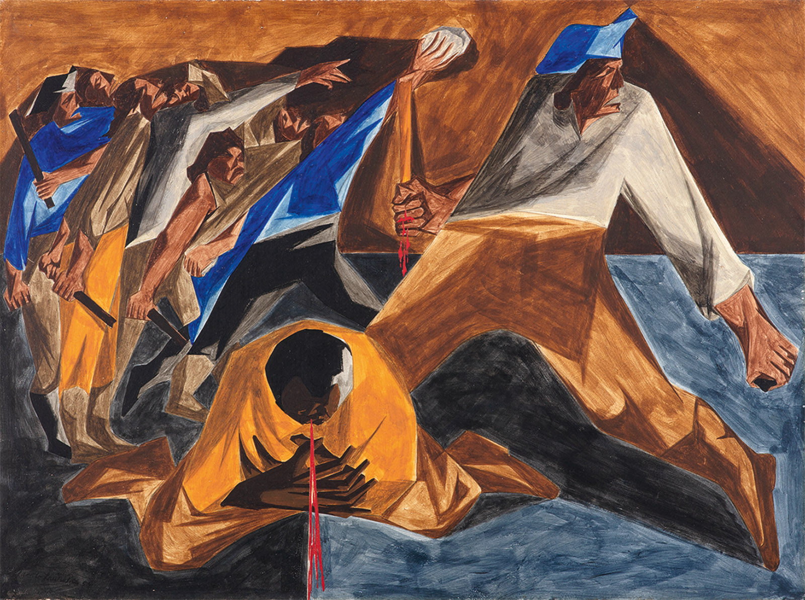 Massacre in Boston; panel 2 from Struggle: From the History of the American People; painting by Jacob Lawrence