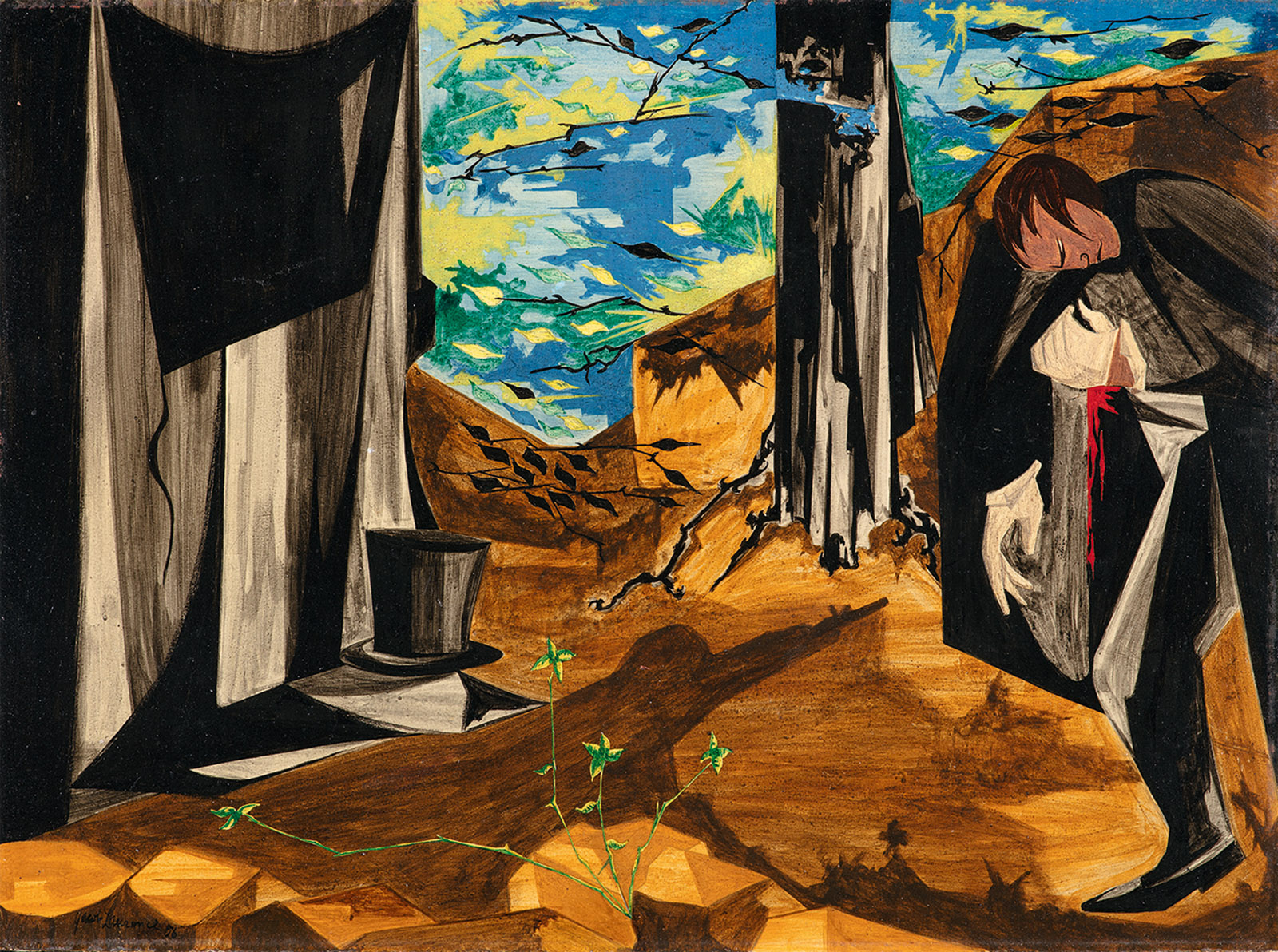 I shall hazard much and can possibly gain nothing by the issue of the interview ...— Hamilton before his duel with Burr, 1804; panel 17 from Struggle: From the History of the American People; painting by Jacob Lawrence