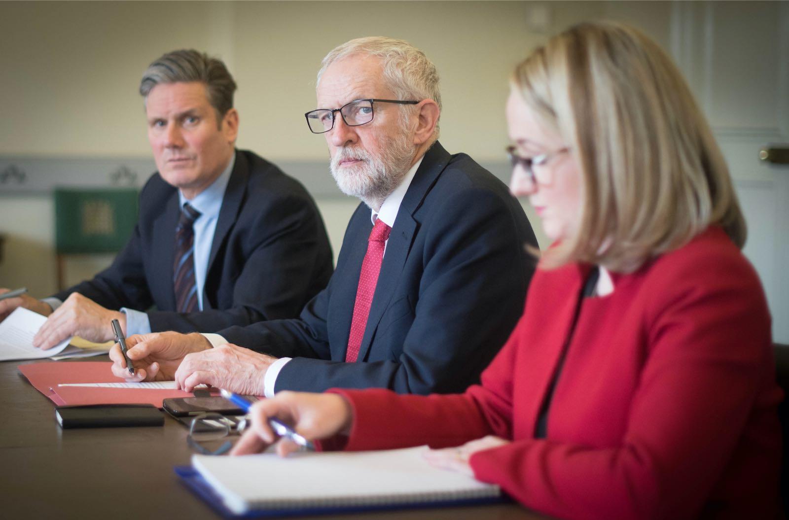 Keir Starmer, Jeremy Corbyn, and Rebecca Long-Bailey, 2019