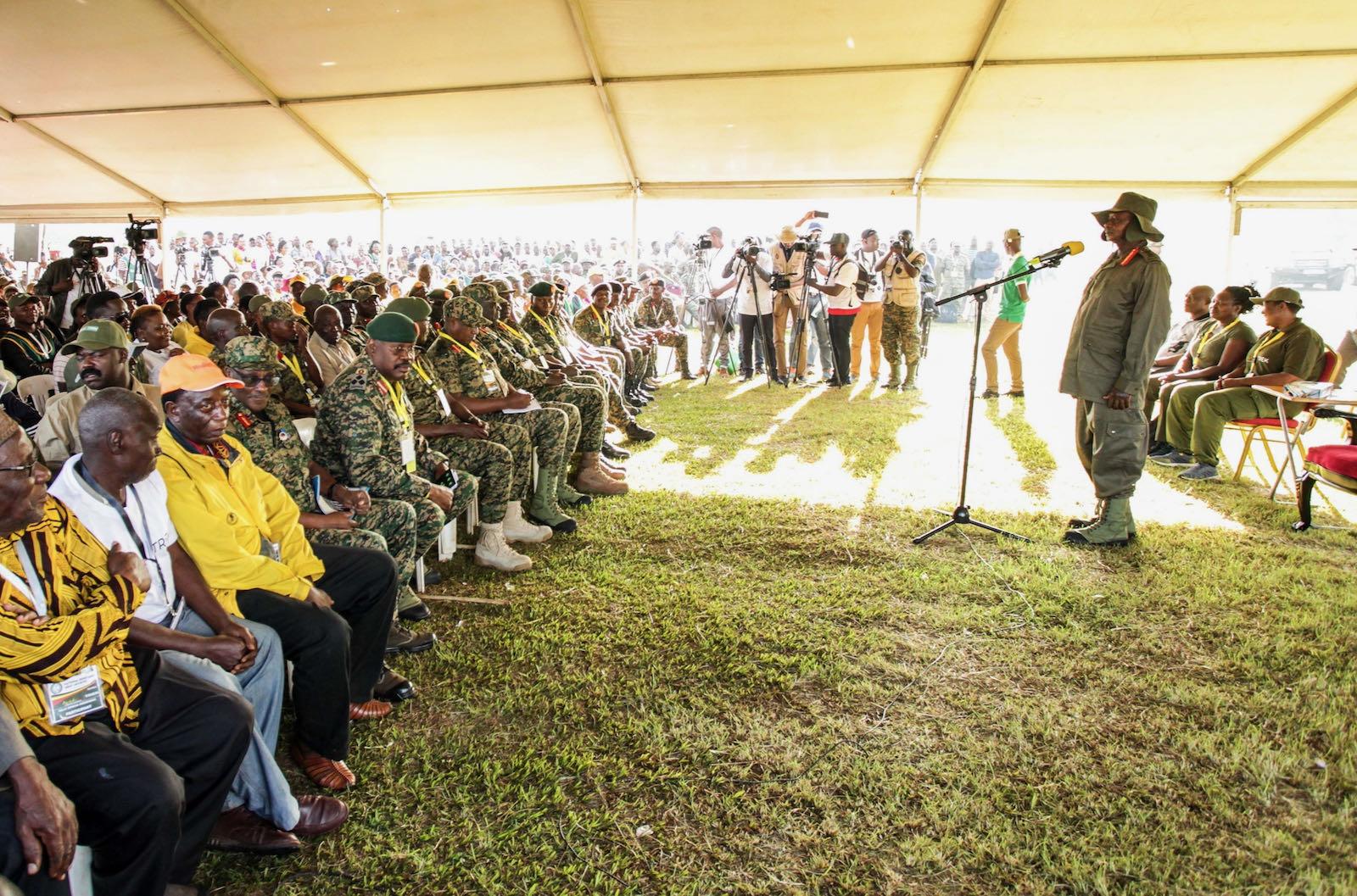 Ugandan President Yoweri Museveni speaking