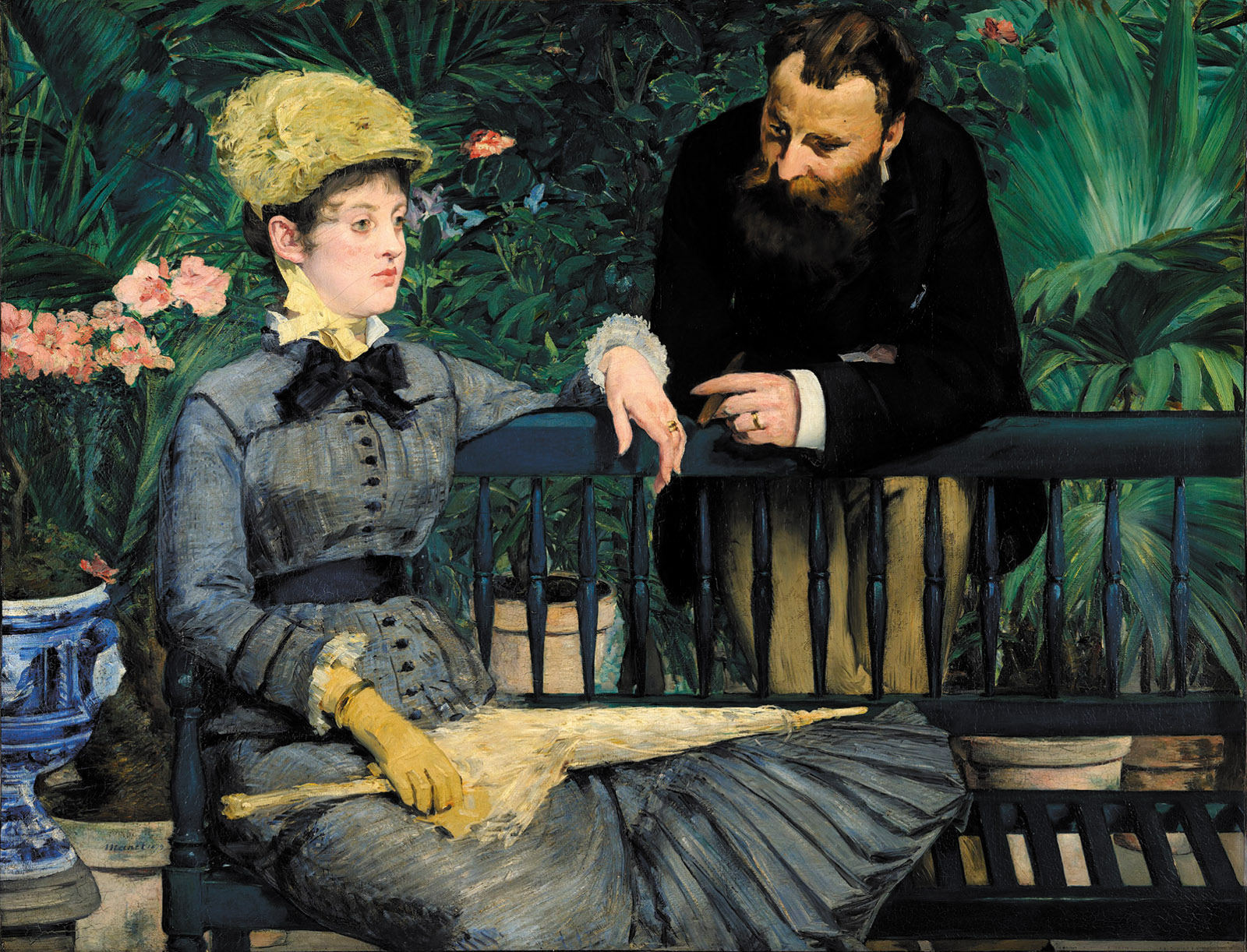 In the Conservatory; painting by Édouard Manet