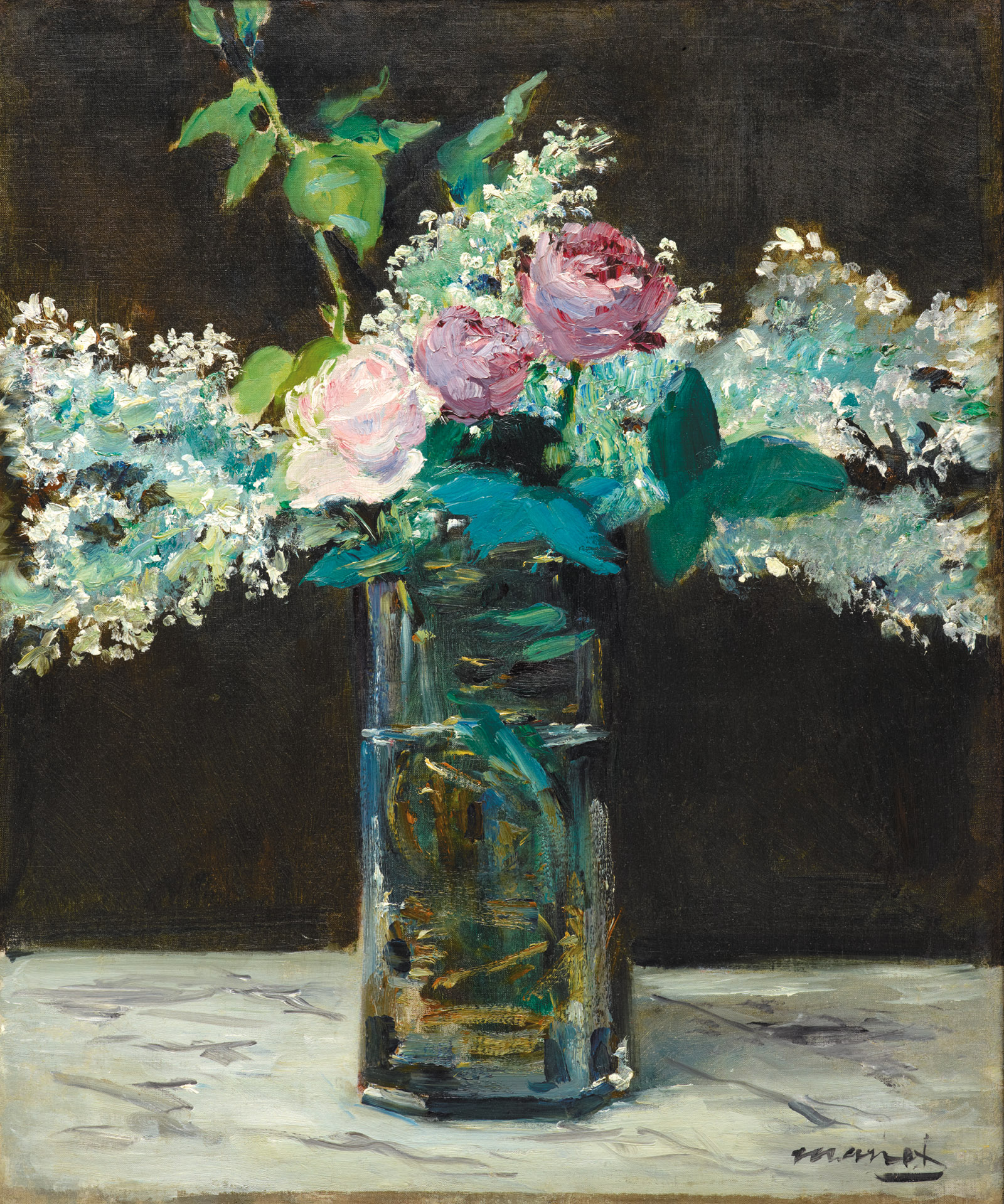 Vase of White Lilacs and Roses; painting by Édouard Manet