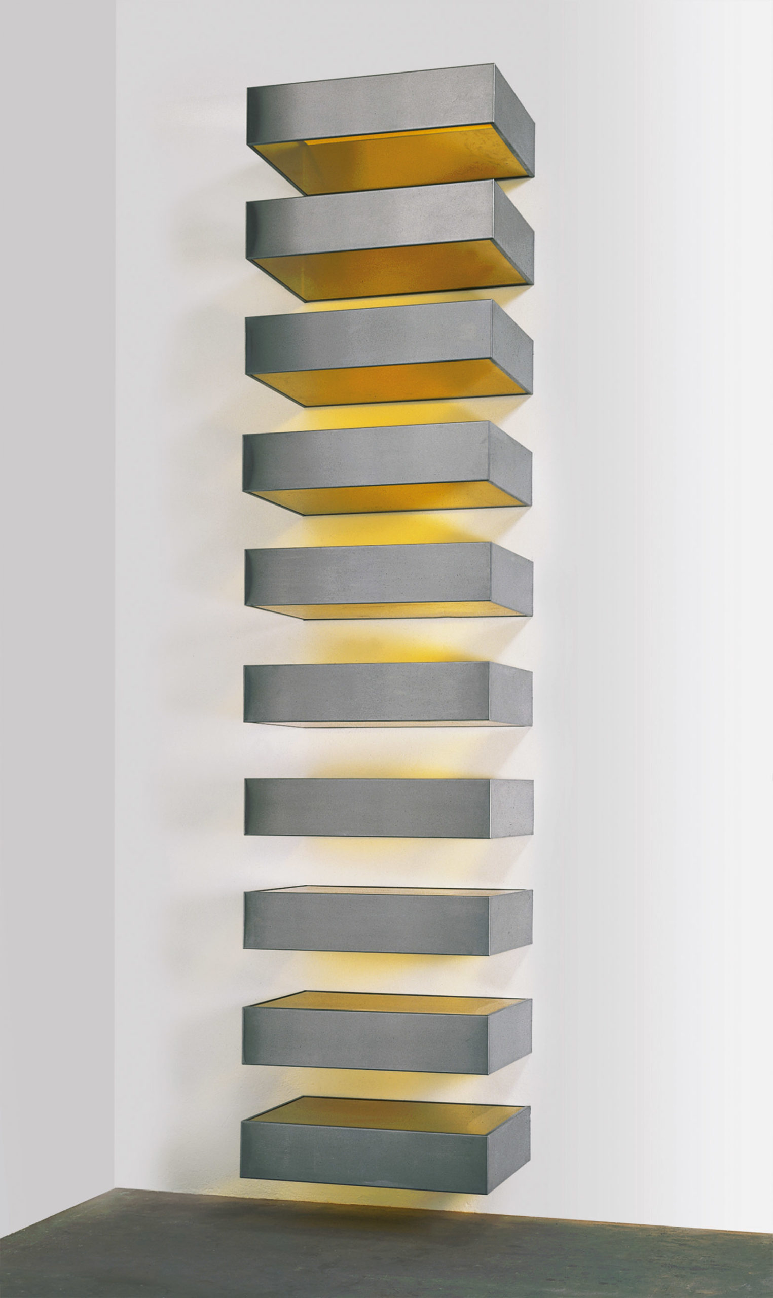Untitled (DSS 123), stainless steel and plexiglass, 1968; by Donald Judd