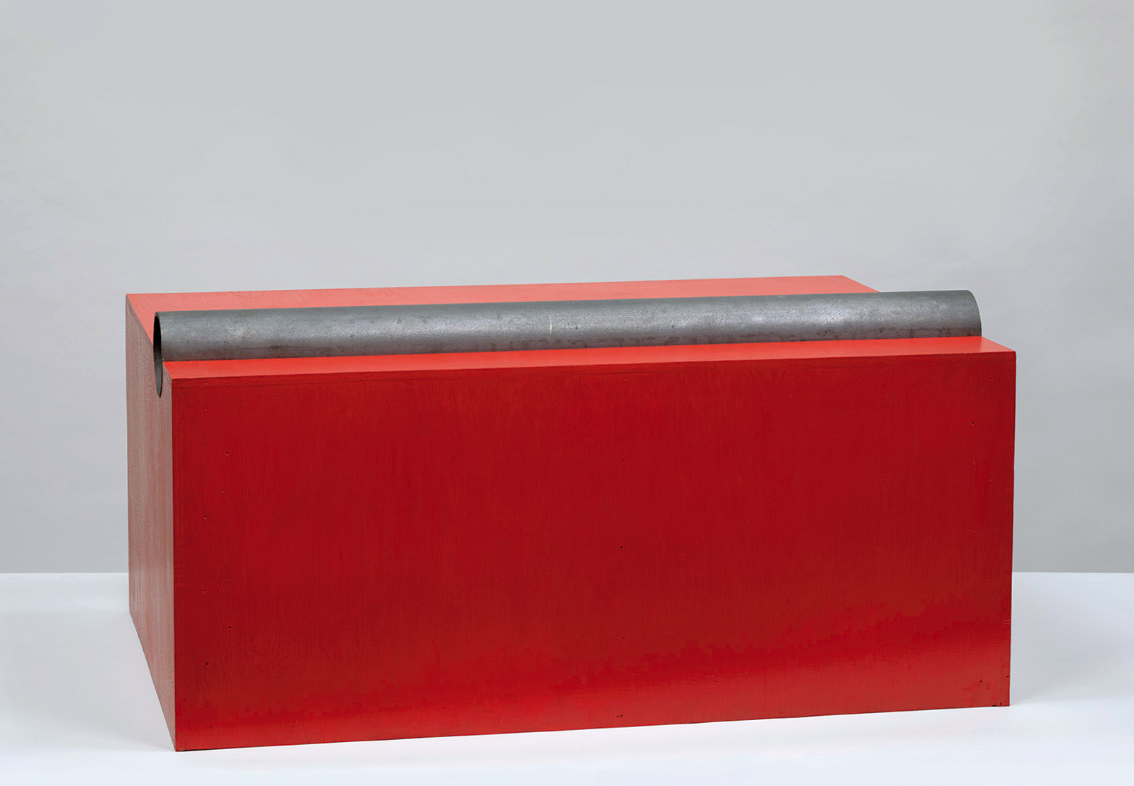 Untitled (DSS 39), oil on wood with iron pipe, 1963; by Donald Judd