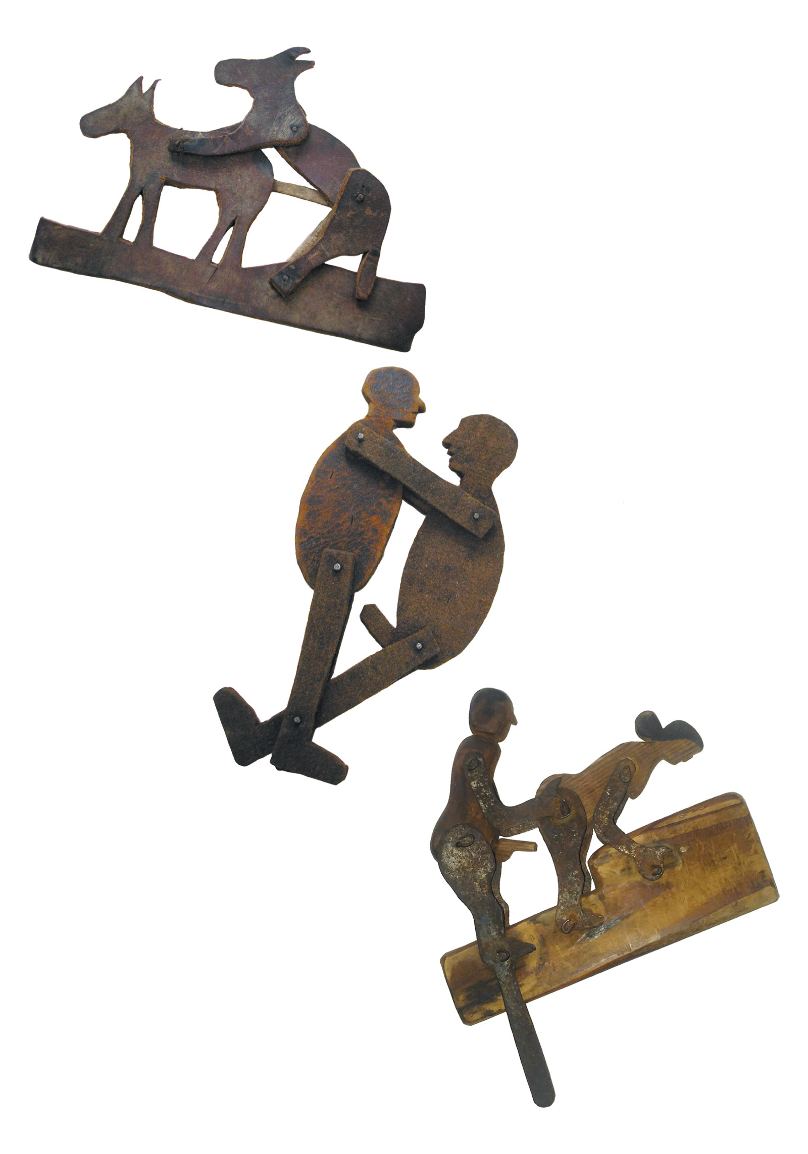 Articulated figures made from leather, metal and wood, circa 1920–1930