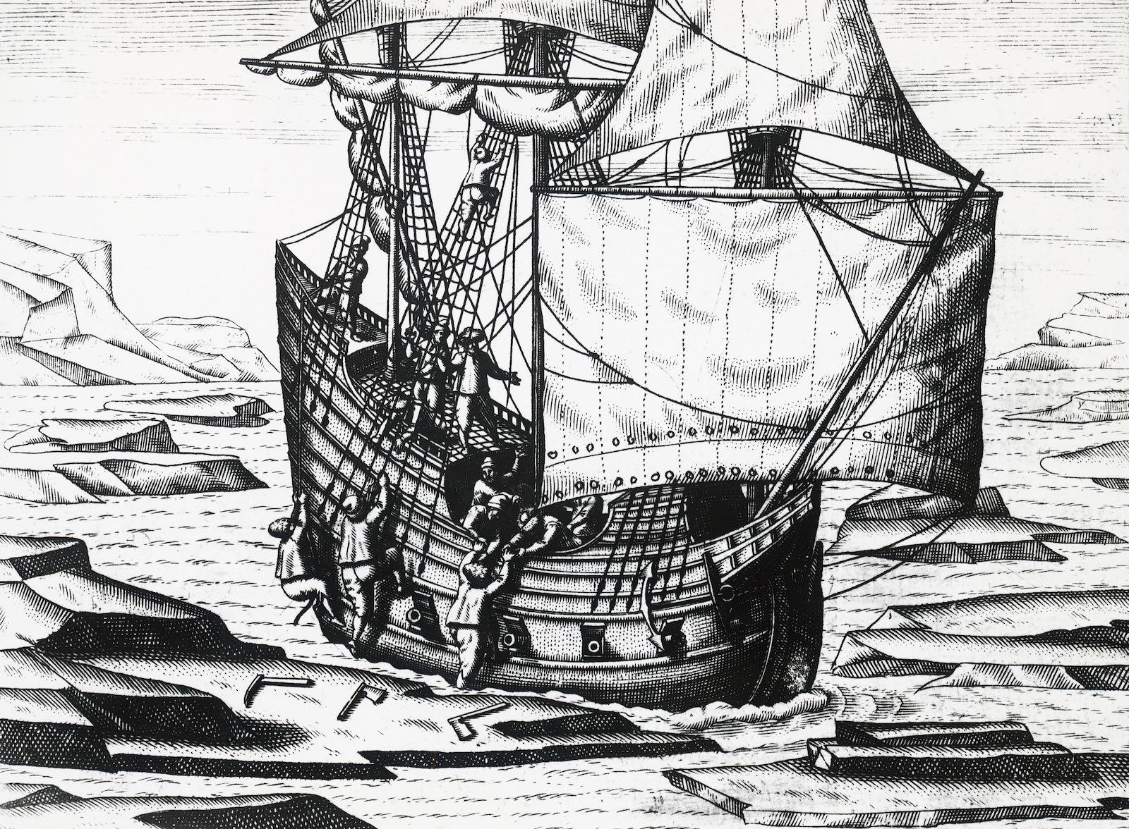 Sailors aboard Barents's ship