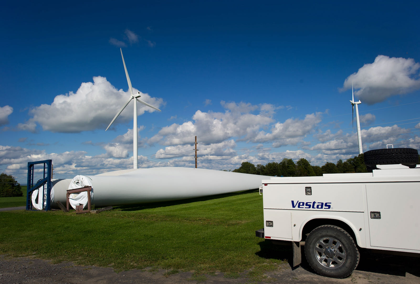 A spare turbine blade on the Maple Ridge Wind Farm in upstate New York