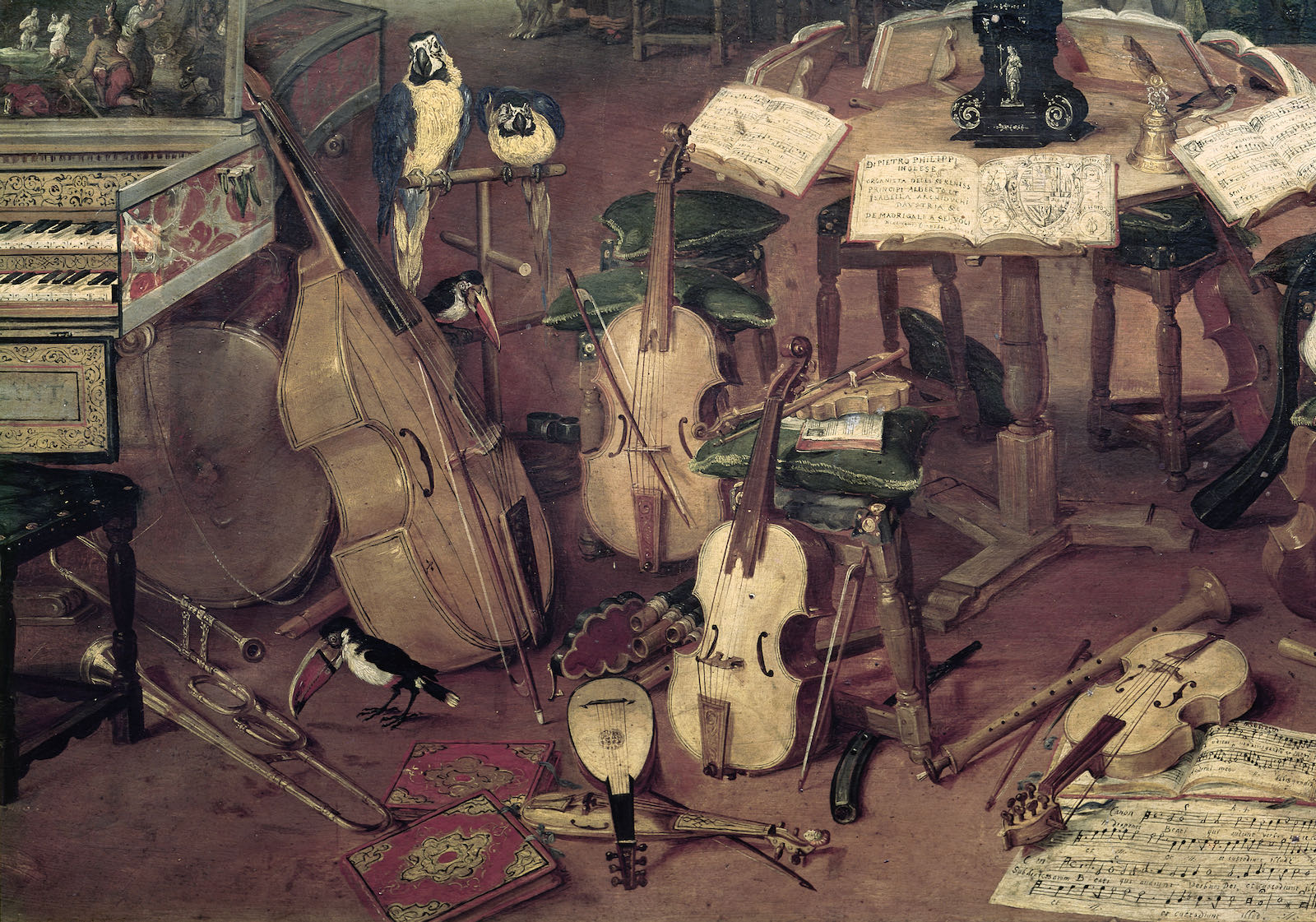 Musical instruments, by Brueghel