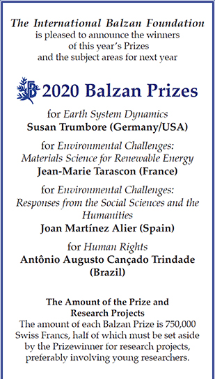 Ad for 2020 Balzan Prizes