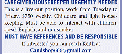 Ad for Caregiver/Housekeeper