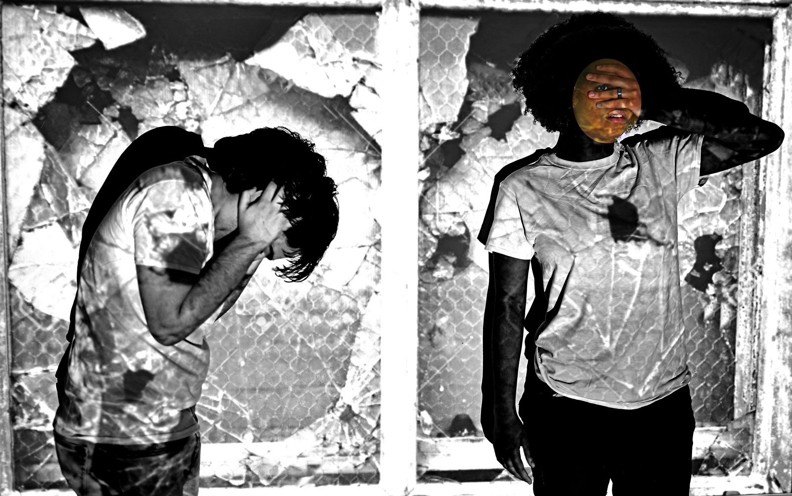 Image from the Femmetography exhibition showing two Teen Curators pictured with fragmented glass