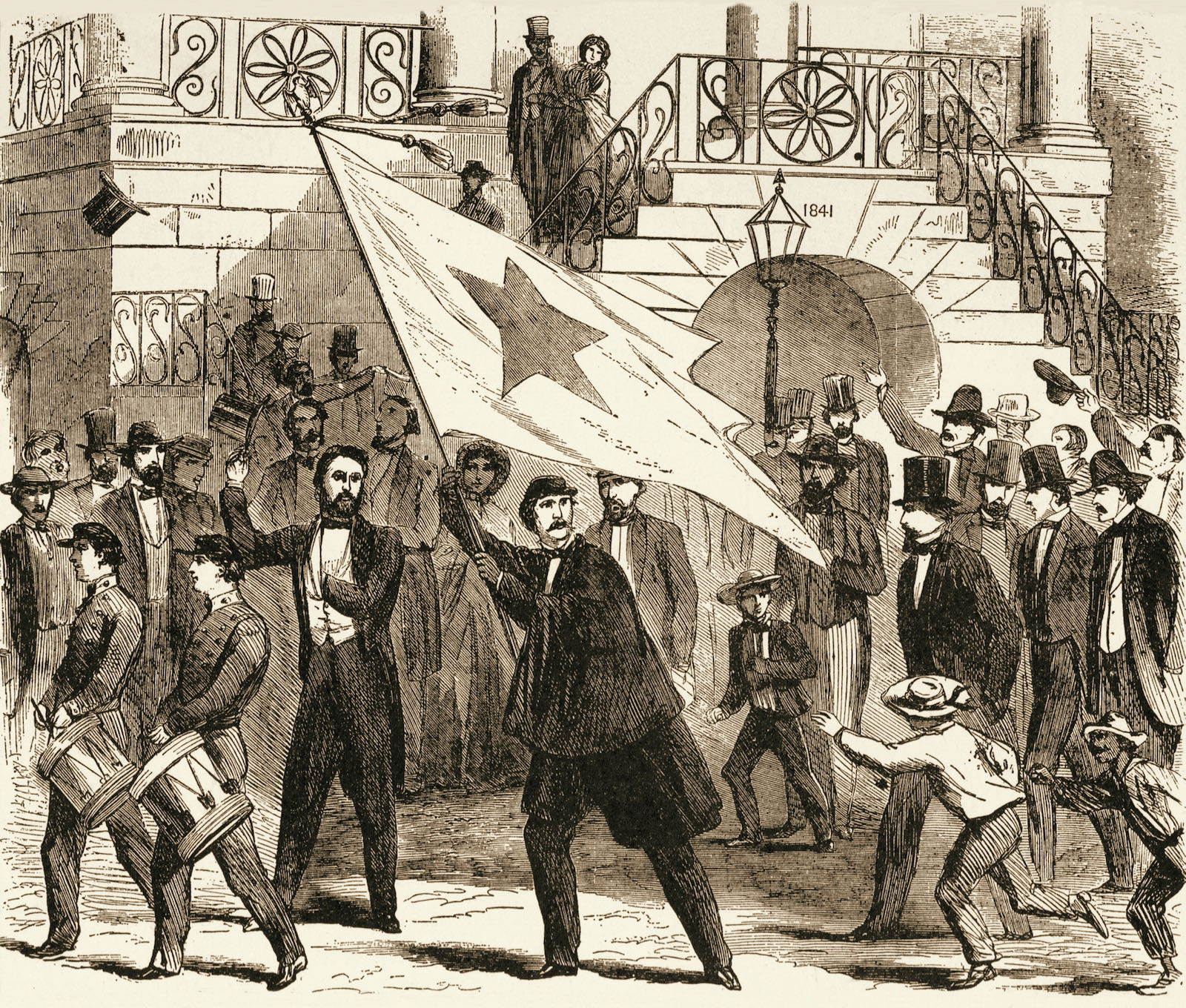 Secessionists marching in South Carolina