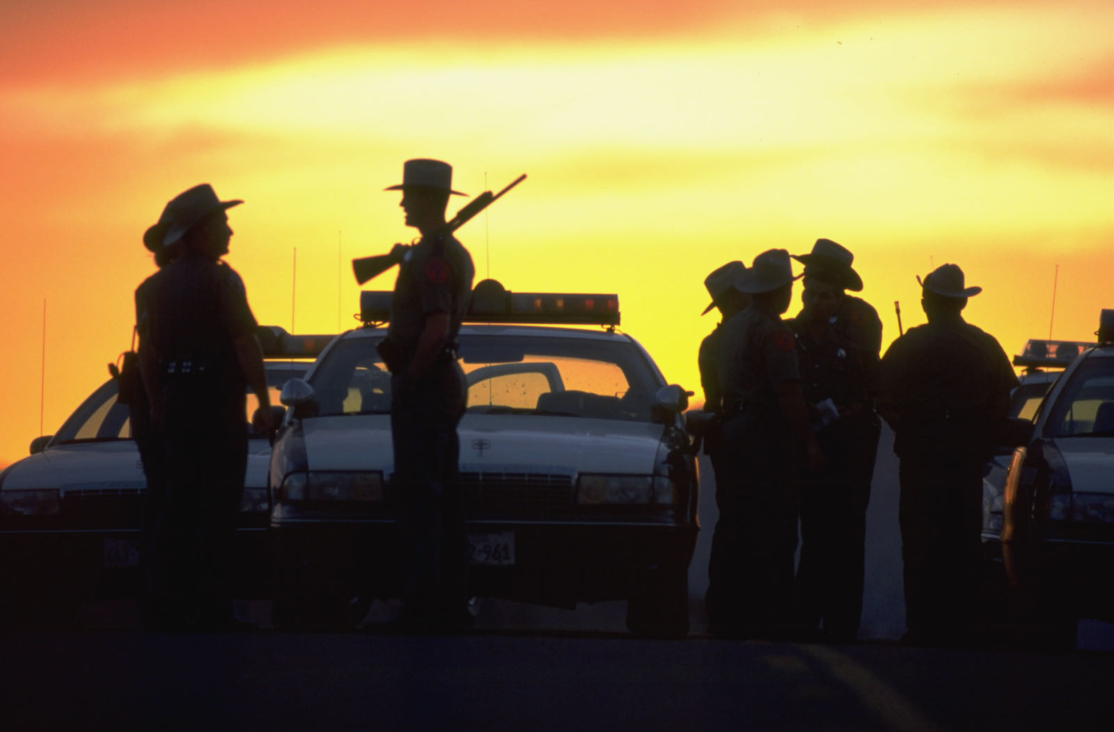 State troopers guarding a roadblock