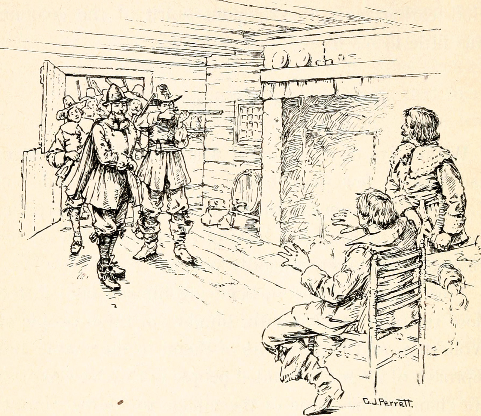 Drawing of Thomas Morton of Merrymount being arrested by Myles Standish of the Plymouth Colony, 1628