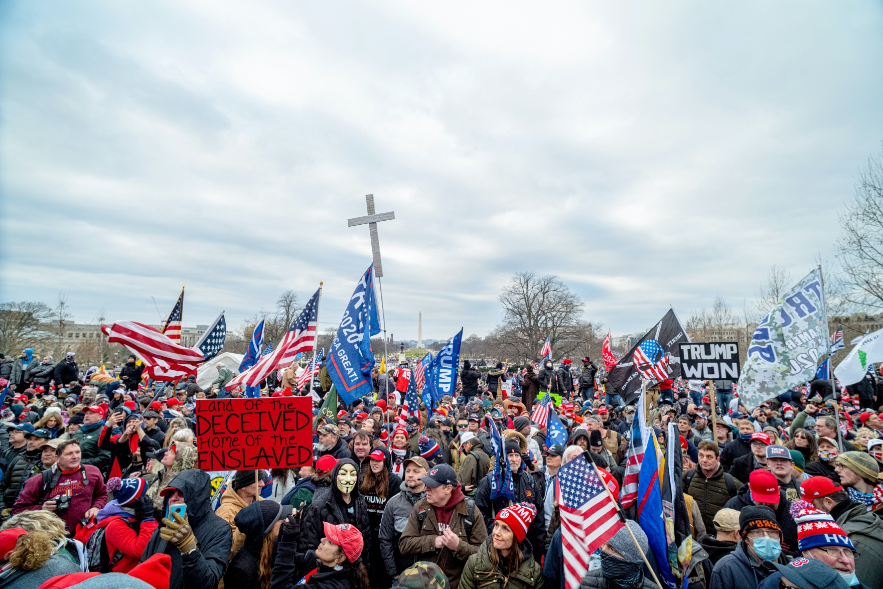 Trump supporters marching