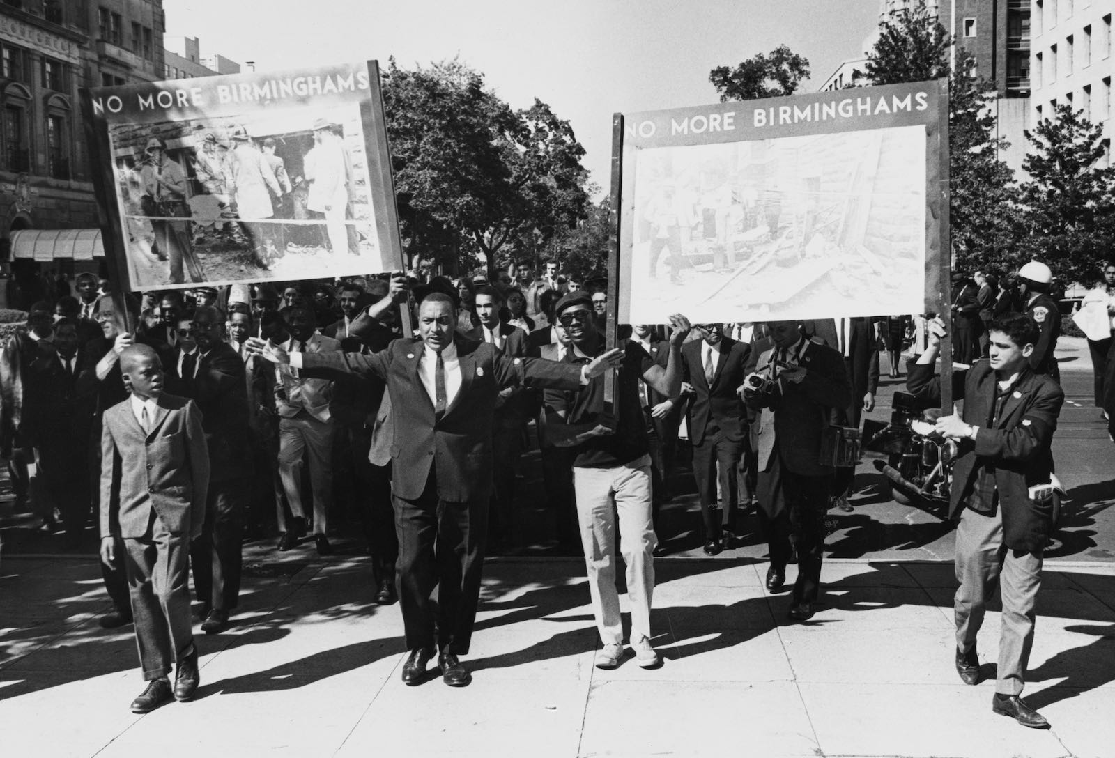 Civil rights demonstrators holding placards, 1963