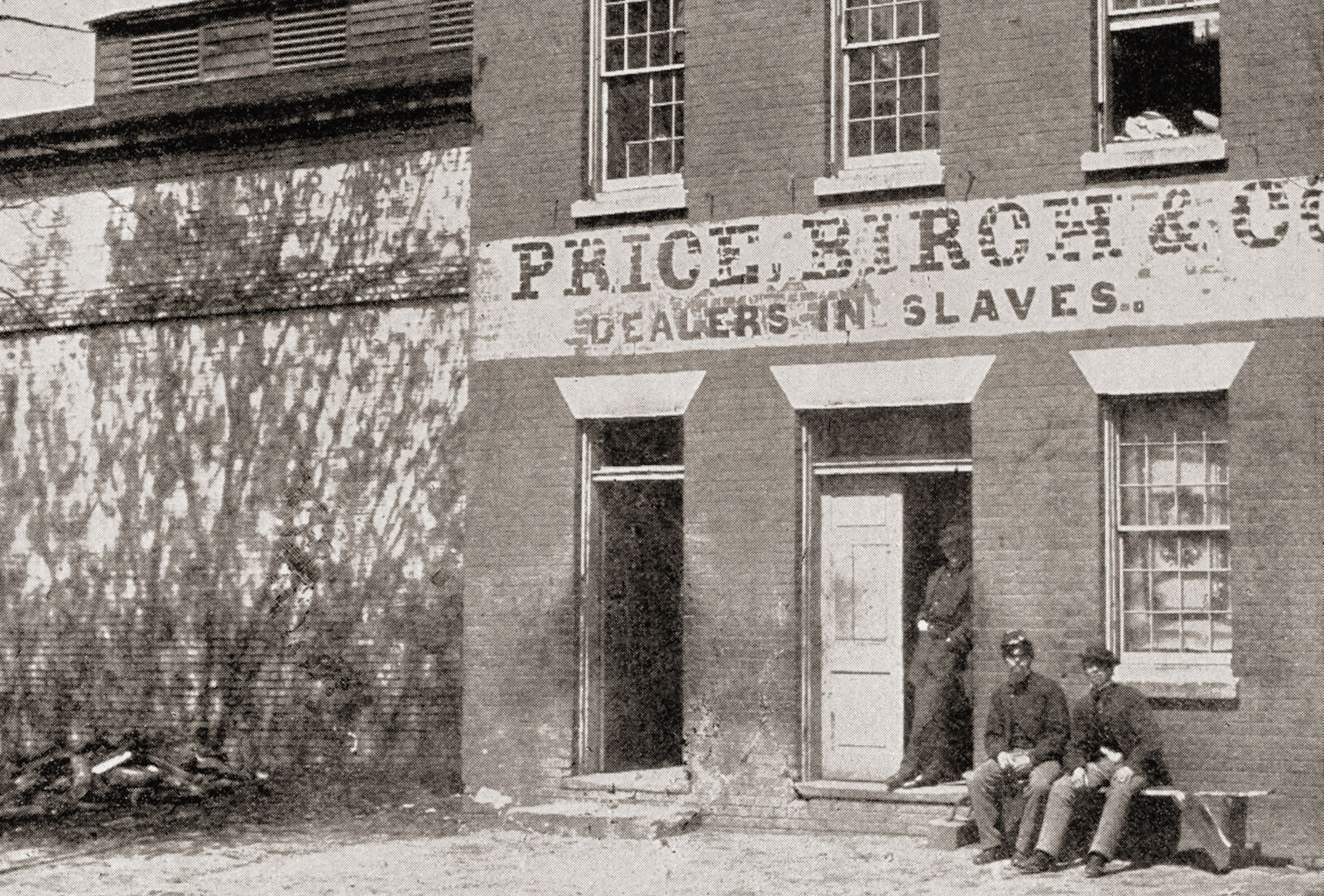 Union soldiers guarding the premises of a former slave dealer, Alexandria, Virginia, 1865