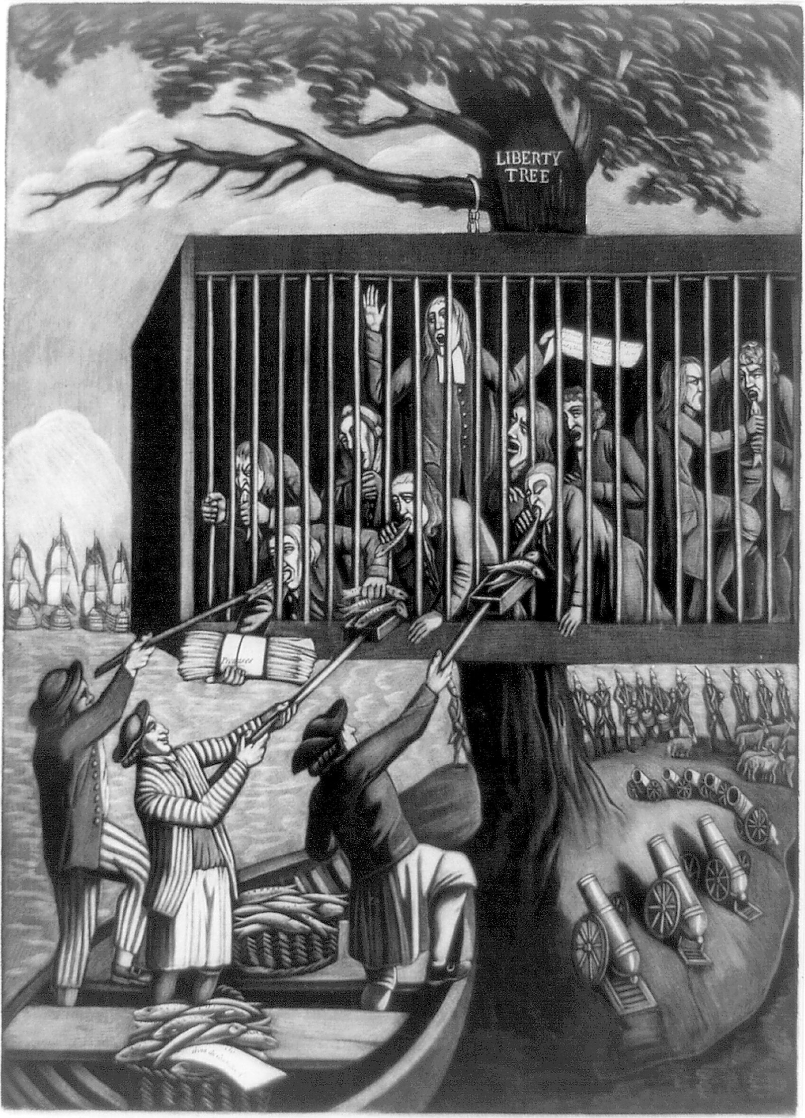 The Bostonians in Distress; cartoon by Philip Dawe