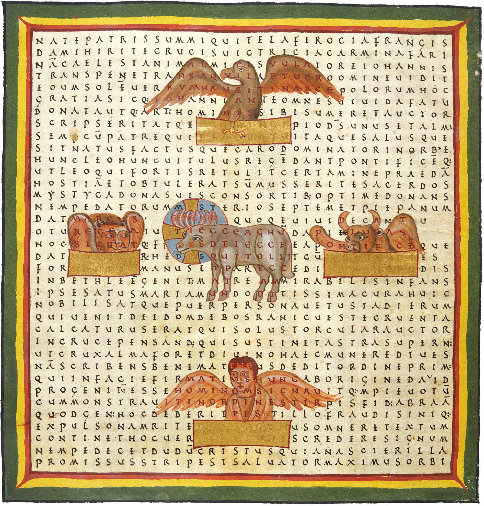 grid poem by Hrabanus Maurus showing the Evangelists and the Lamb of God