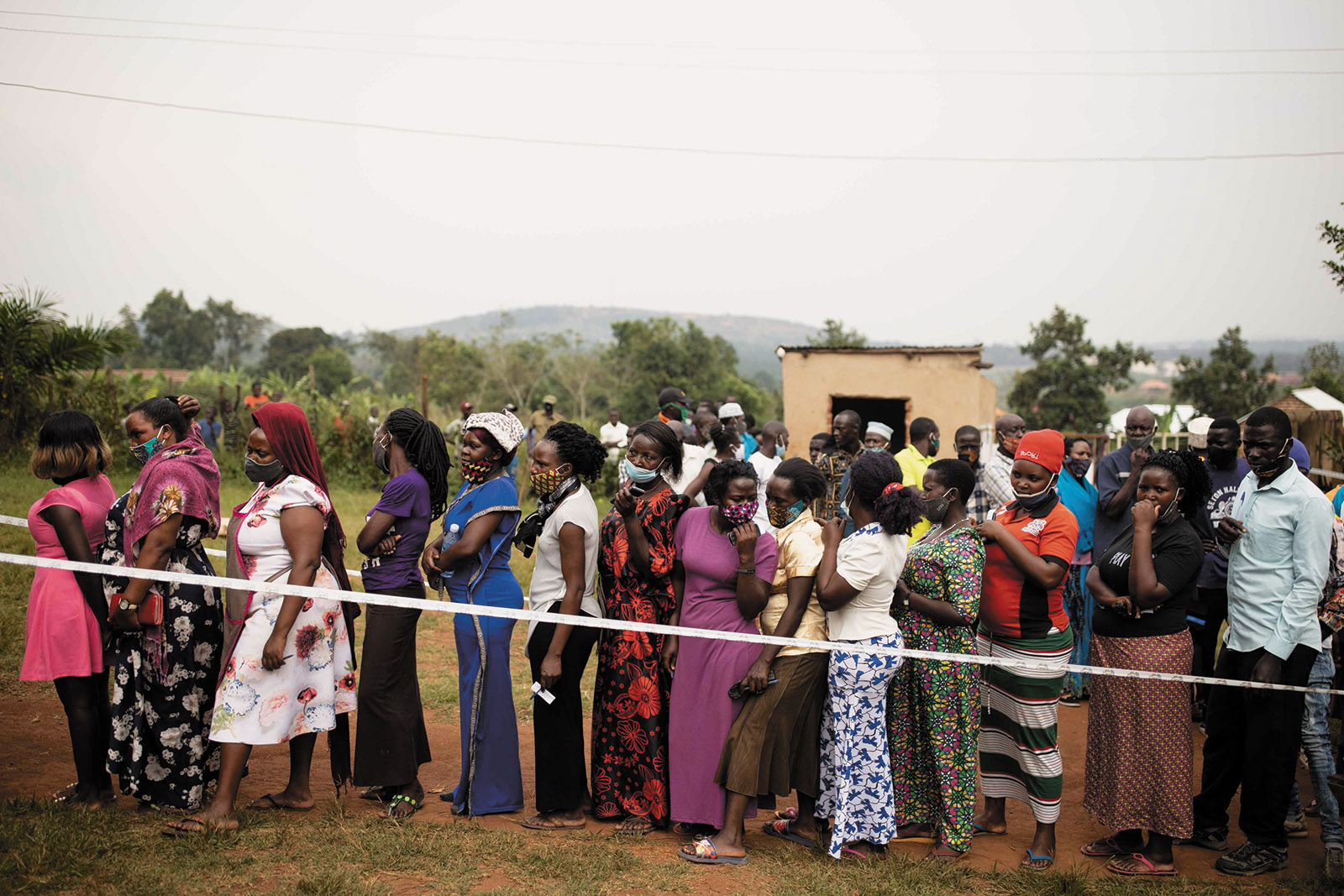Voters in line at a polling station during the Ugandan presidential election