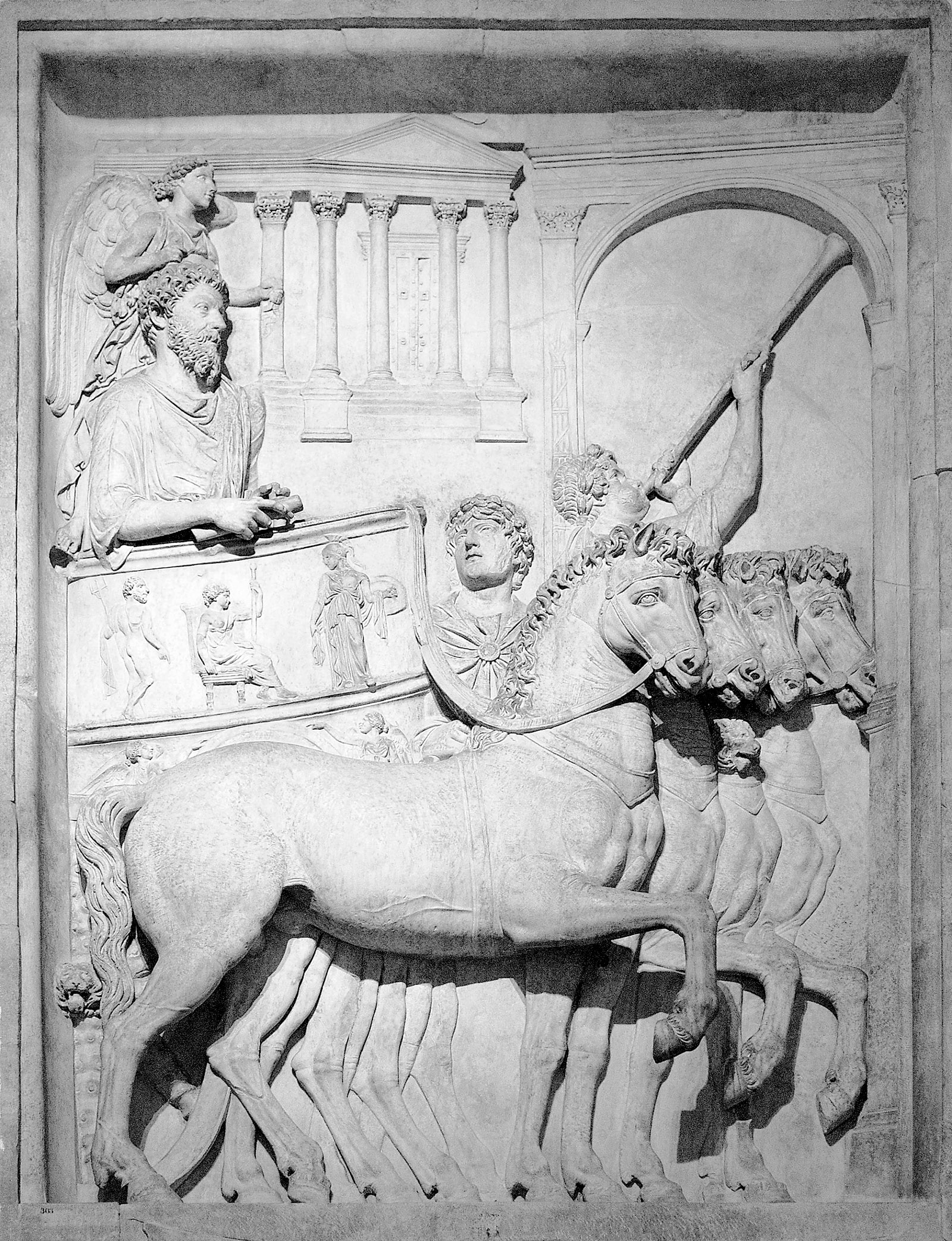 Marcus Aurelius in his chariot; bas-relief from a triumphal arch in the Roman ­Forum