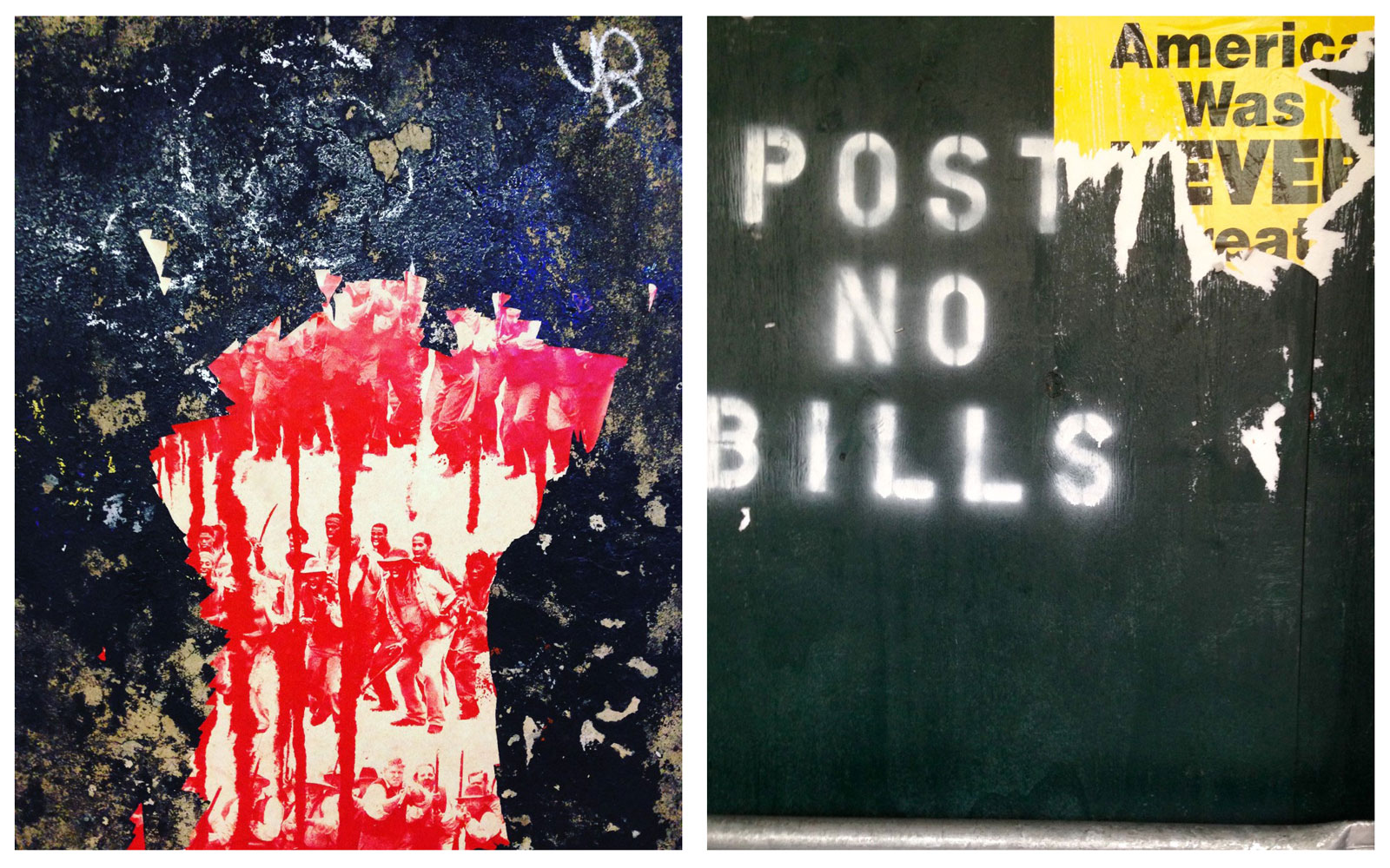Two peeling posters, the left showing a crowd in red ink, the right a peeling sign that said