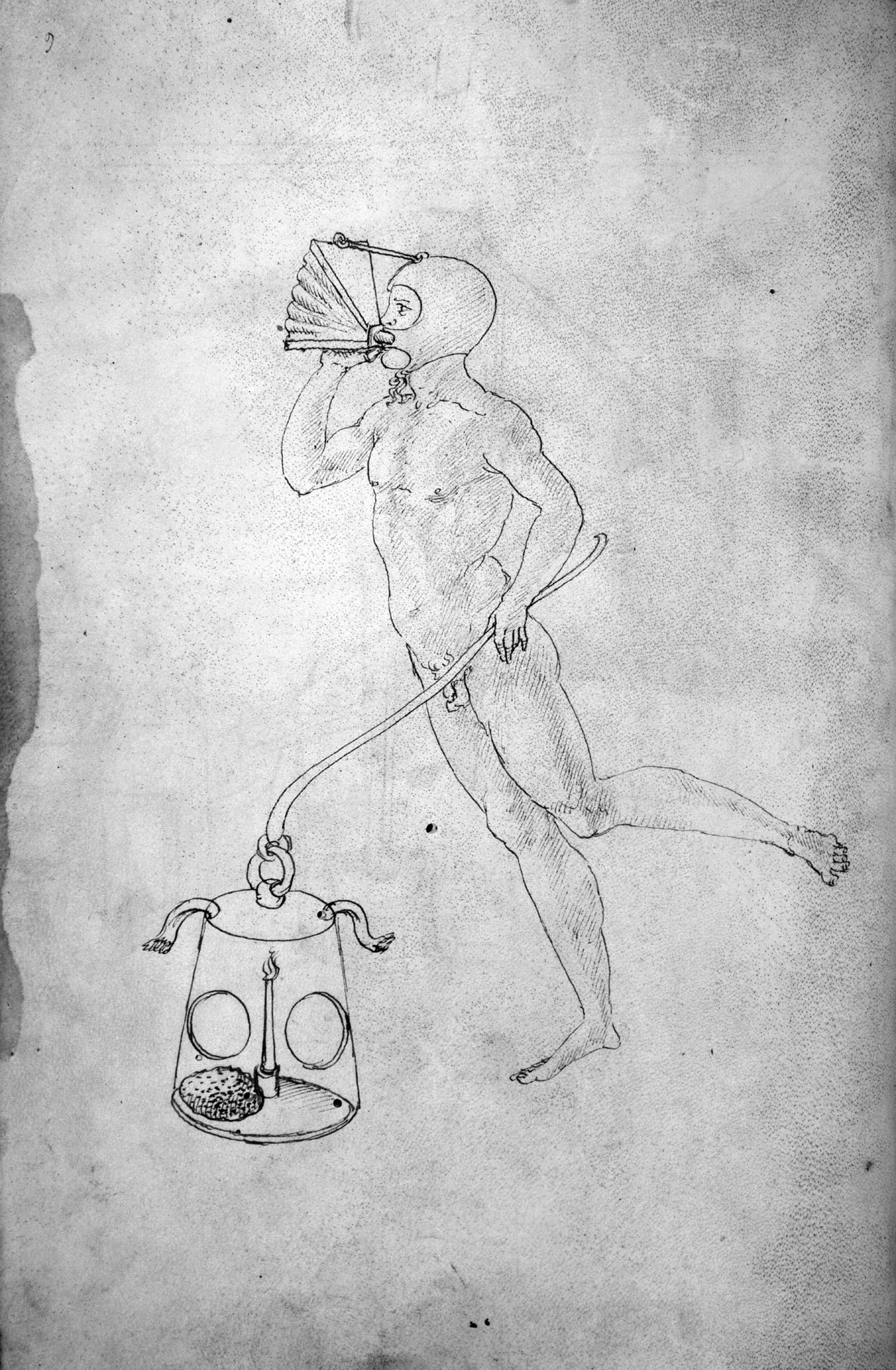 Drawing of a diver with bellows for breathing and a lantern with a sponge and lit candle