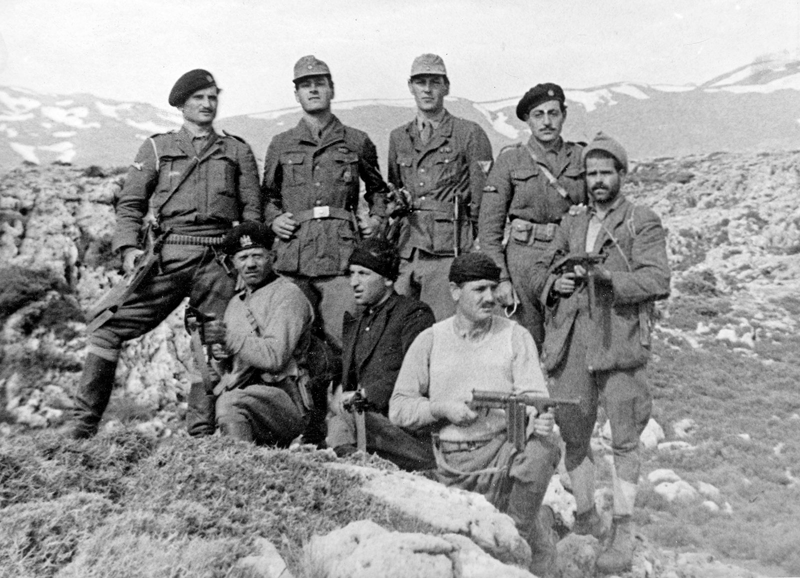 Patrick Leigh Fermor and William Stanley Moss with other members of the group that abducted the German general Heinrich Kreipe, Crete