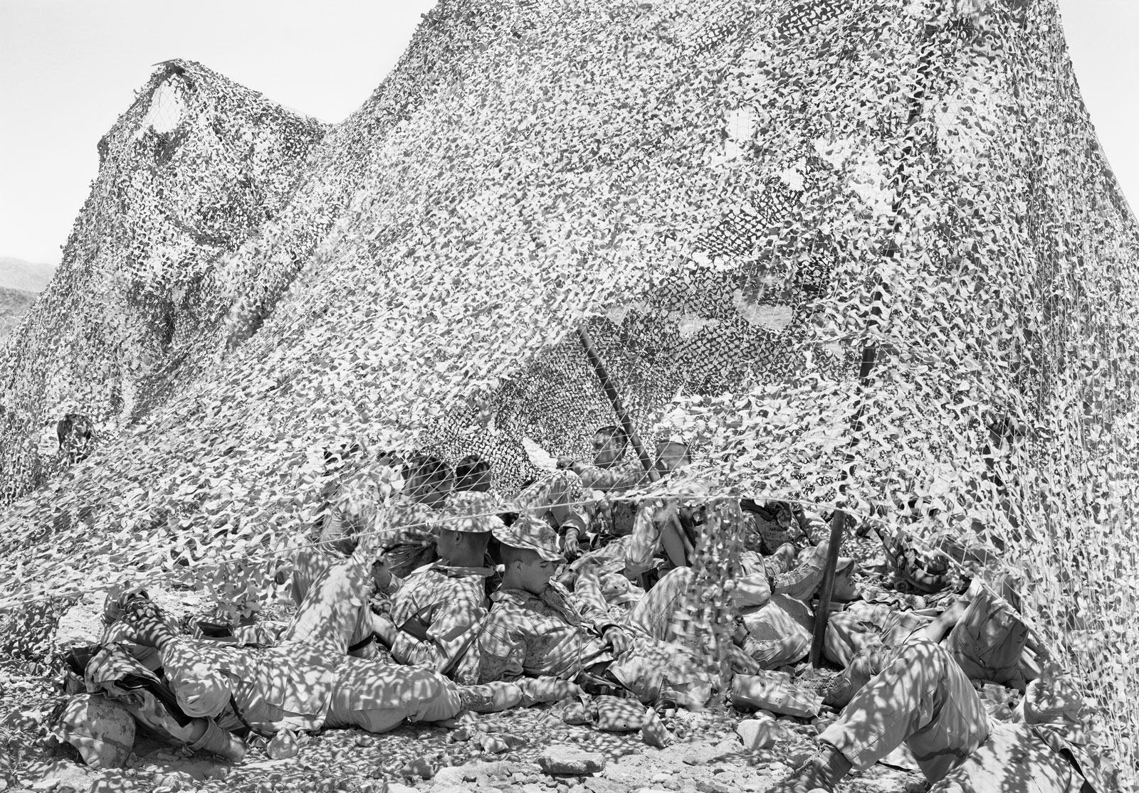 Soldiers crouched beneath camouflage