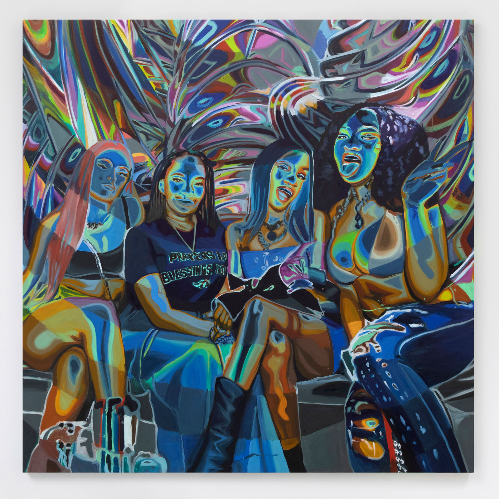 Four black women rendered in rainbow colors sitting together