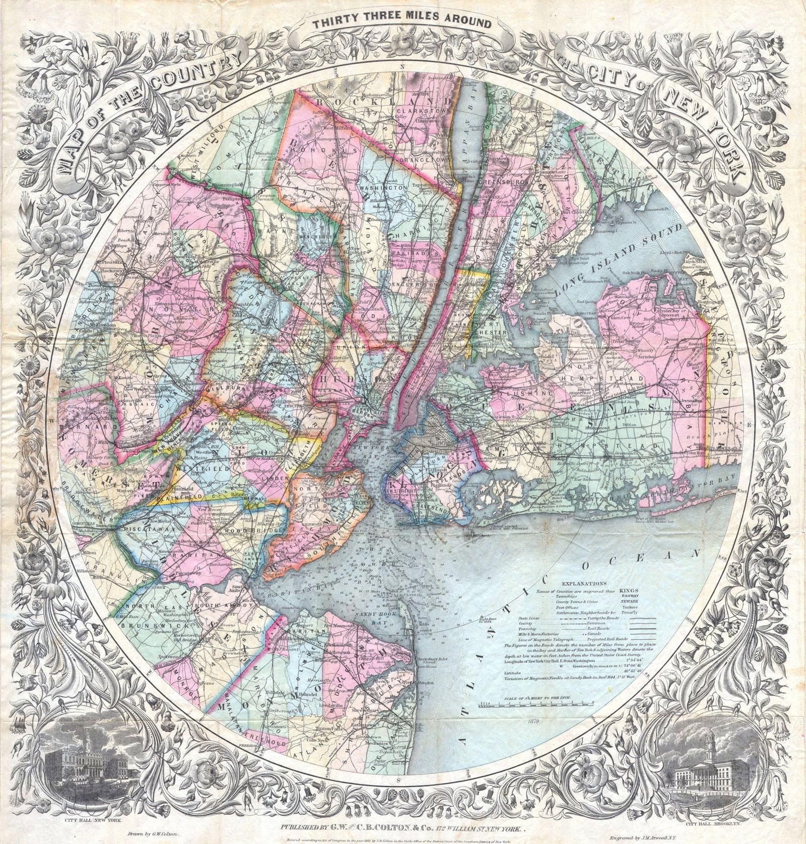 a nineteenth century map of New York City