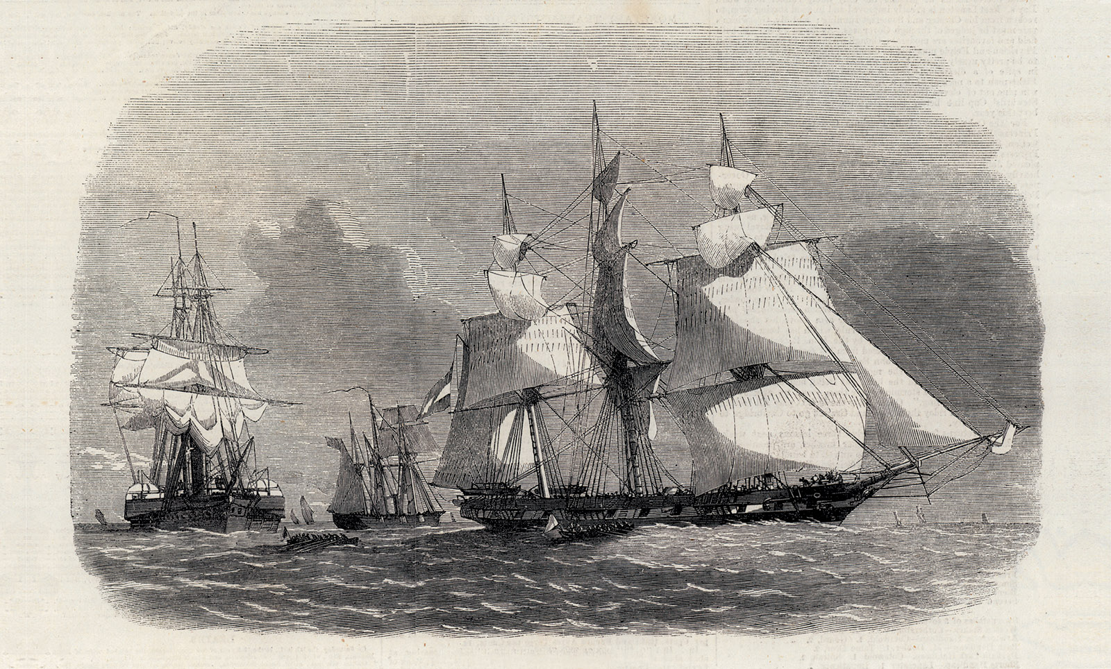 Capture of a Slaver off the Coast of Cuba; engraving from 1858