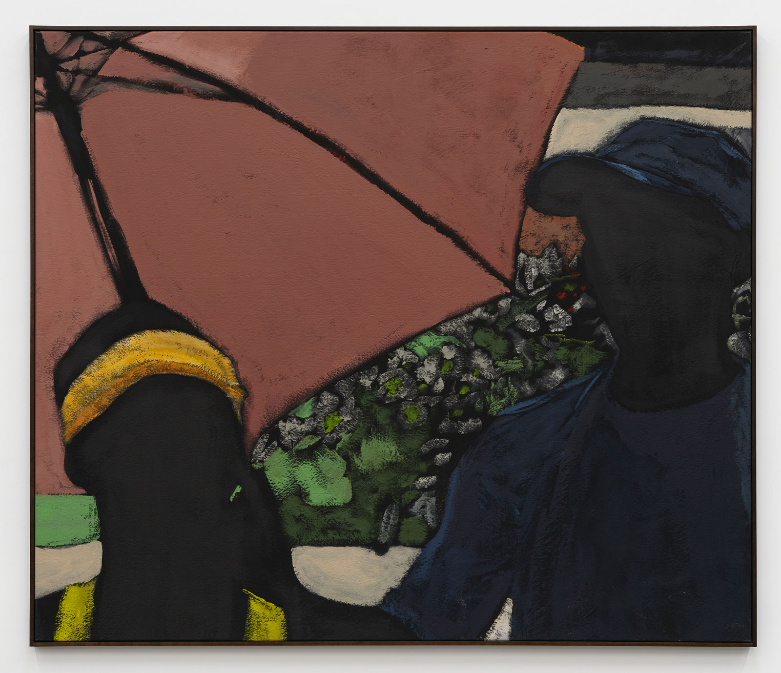 Two black male figures standing under a pink umbrella, one with a yellow sweatband, the other with a blue hat and t-shirt