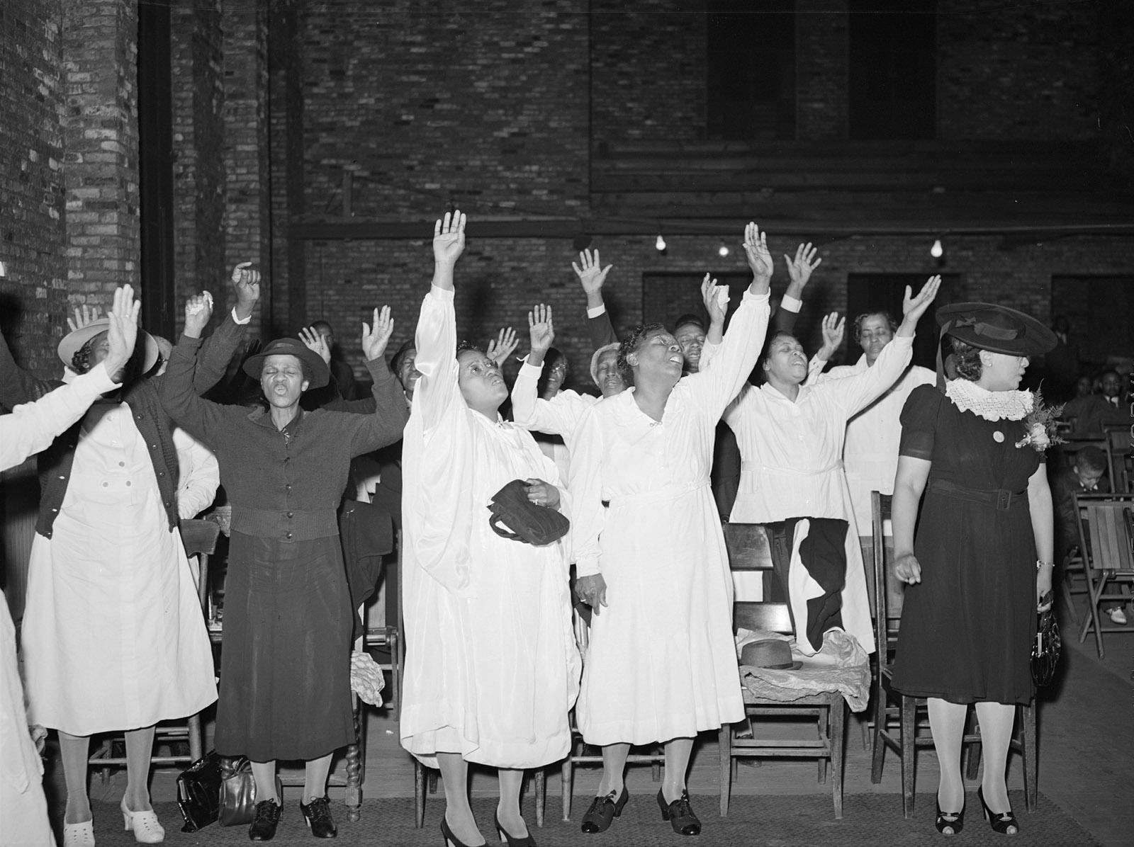 Worshipers at a Pentecostal church