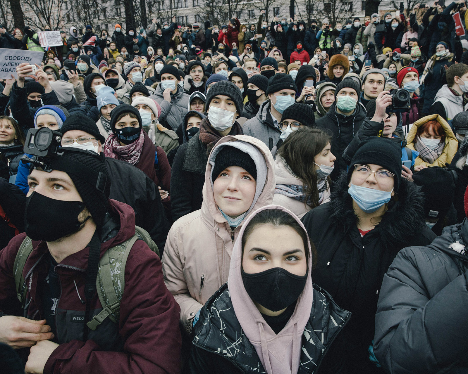 Protesters at a demonstration in support of Russian opposition leader Alexei Navalny