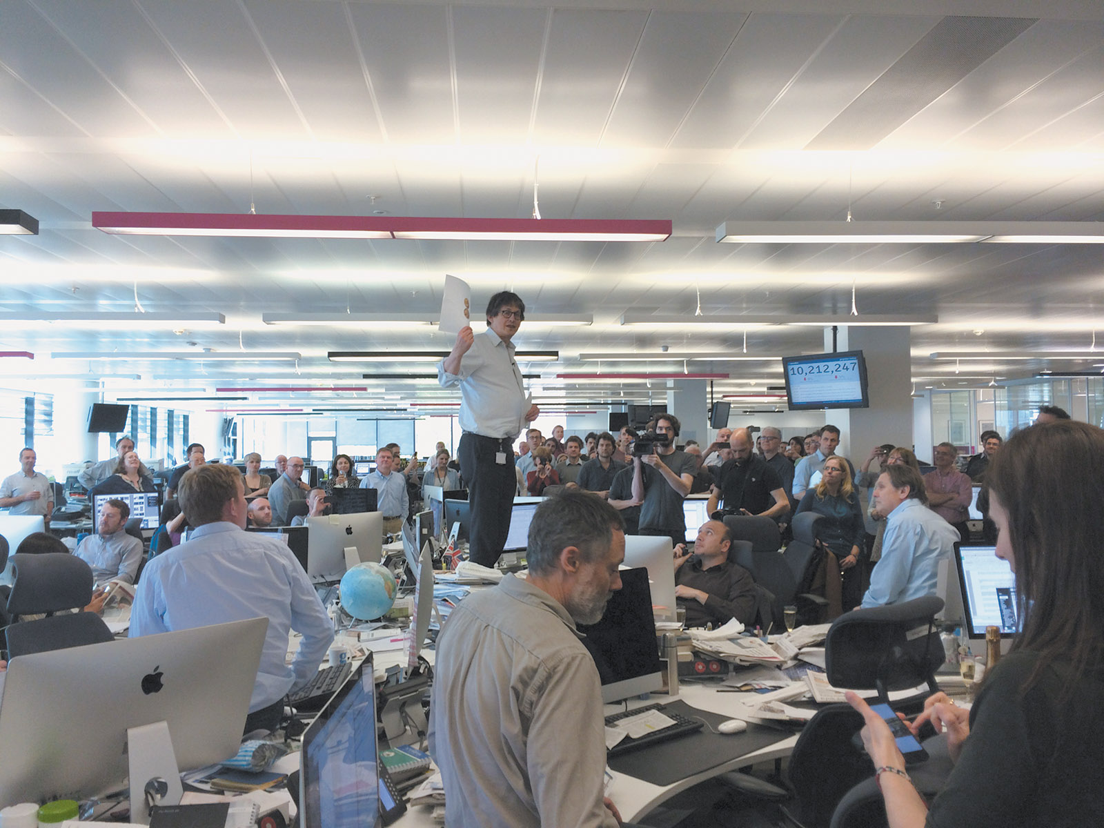 Alan Rusbridger, then editor of The Guardian, addressing the newsroom after the paper won the Pulitzer Prize for its reporting on the documents leaked by Edward Snowden