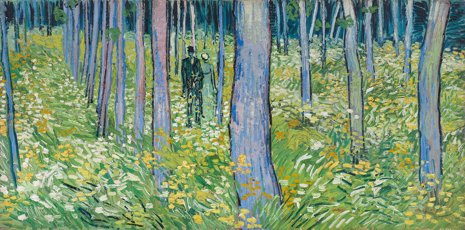 A man and a woman standing in a grassy forest