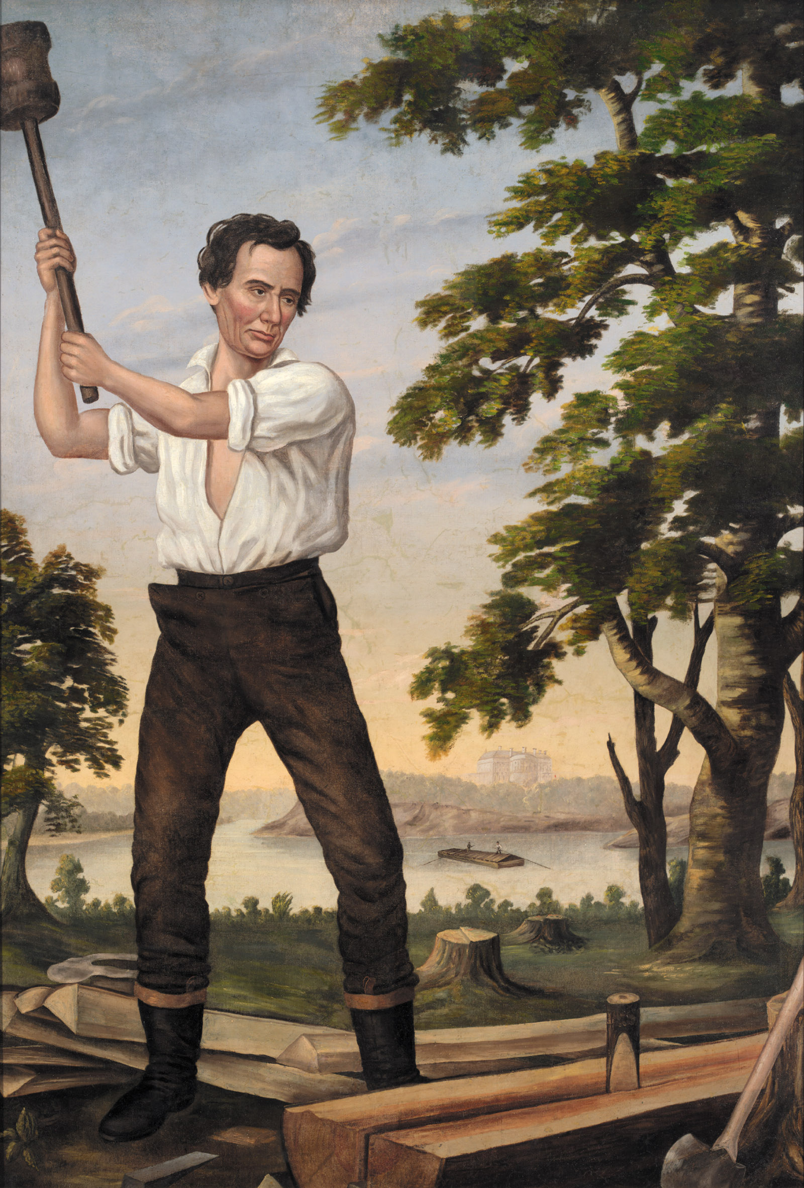 The Railsplitter, a painting of Abraham Lincoln displayed at his rallies