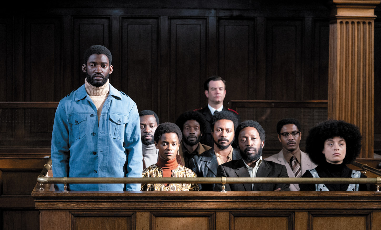 Malachi Kirby as activist Darcus Howe, on trial with the other members of the Mangrove Nine; from Small Axe: Mangrove