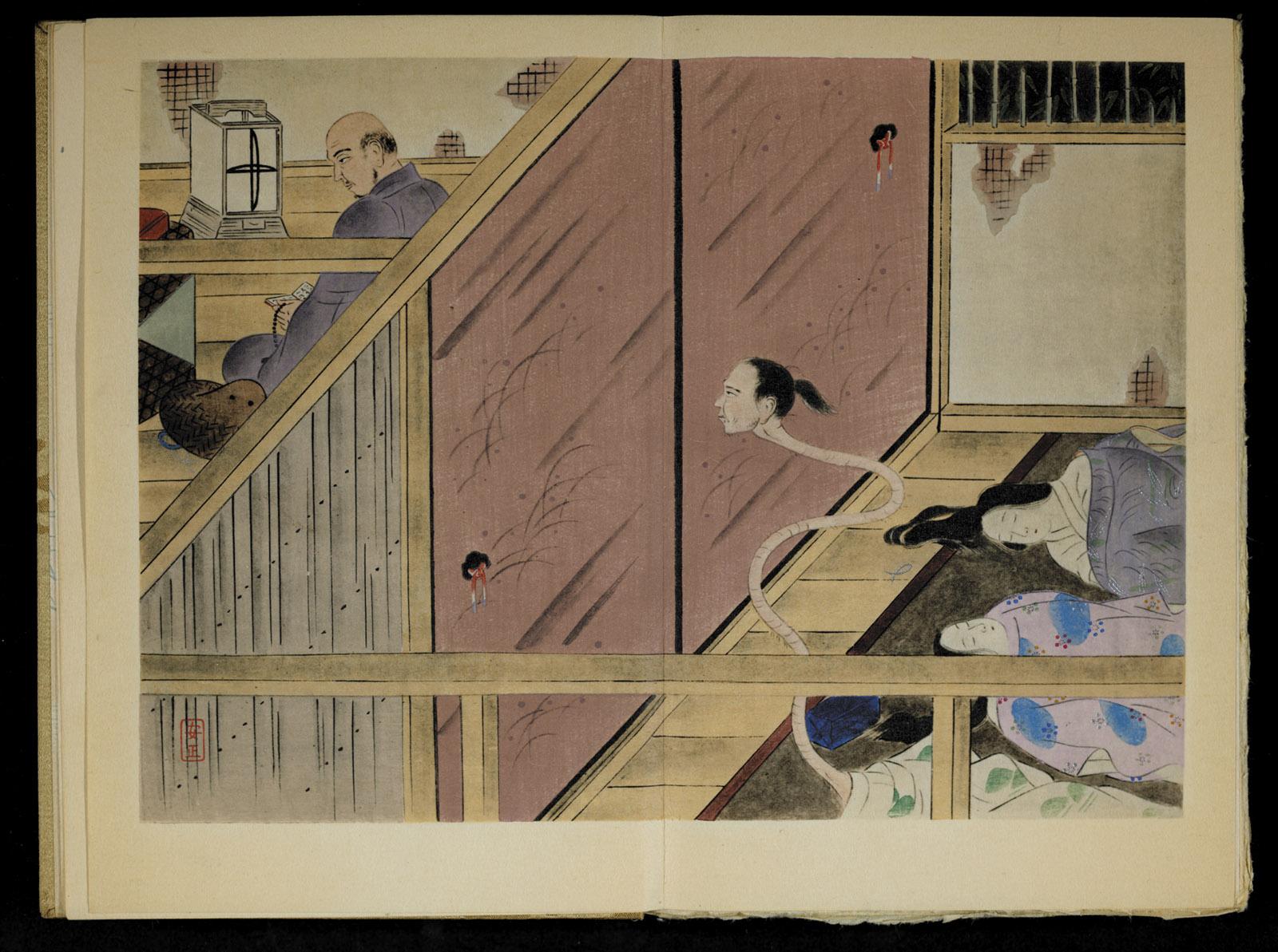 A scene from Lafcadio Hearn's story 'Rokuro-Kubi'
