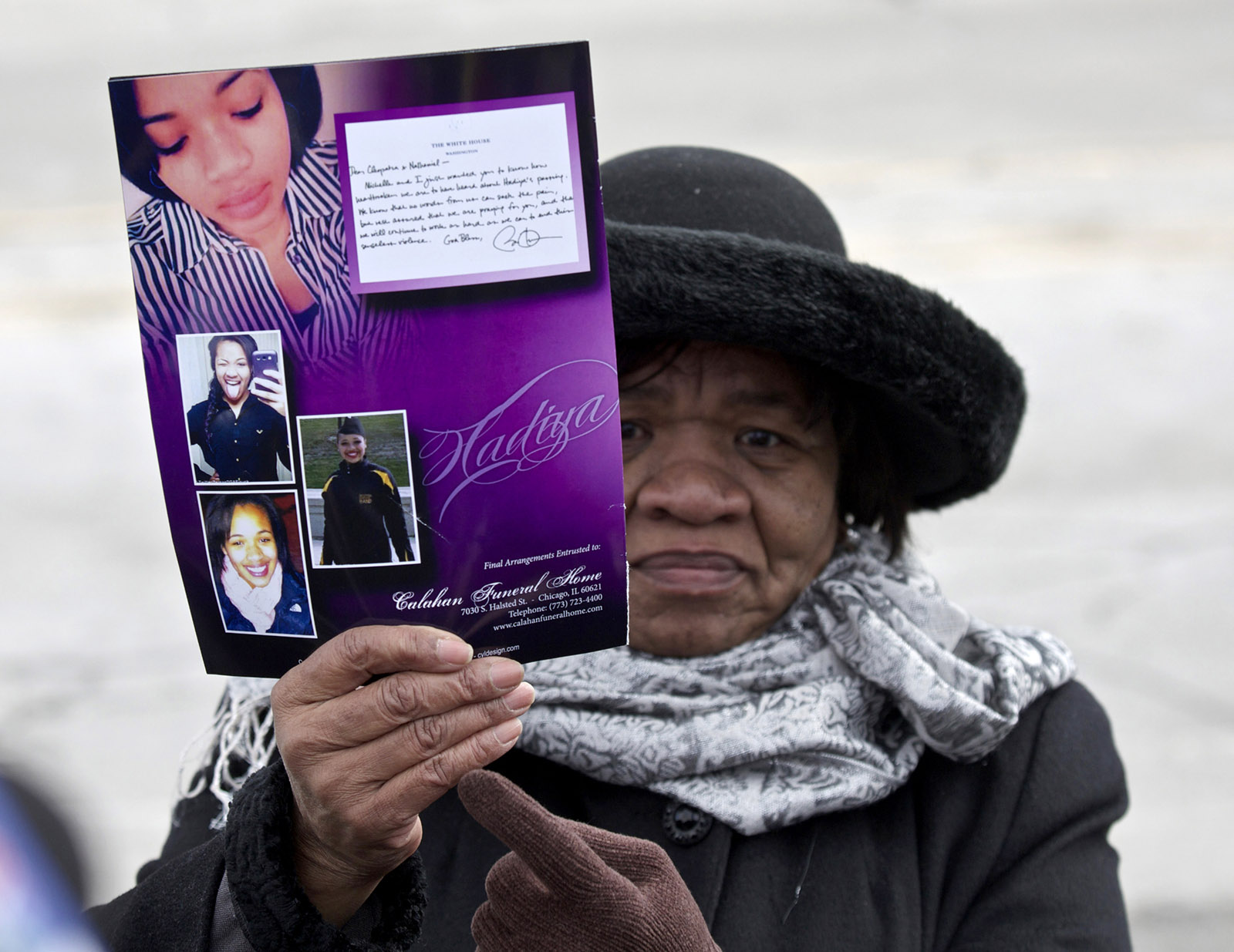 A mourner at the funeral of Hadiya Pendleton, a fifteen-year-old who was fatally shot in a Chicago park